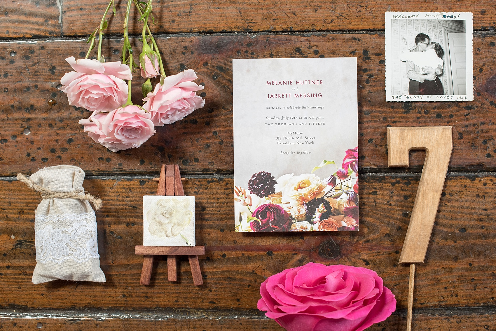 Wedding Paper Divas floral wedding invitation for My Moon Brooklyn intimate wedding. Photos by Mikkel Paige Photography.