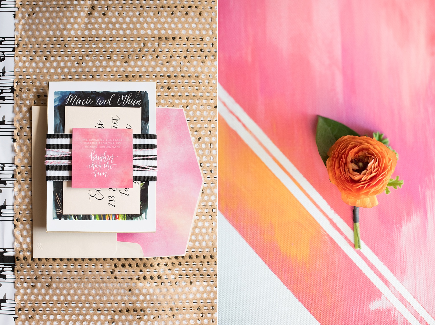 Pink and orange invitation suite with custom calligraphy. Photos by Mikkel Paige, calligraphy by Estudio Rojo.