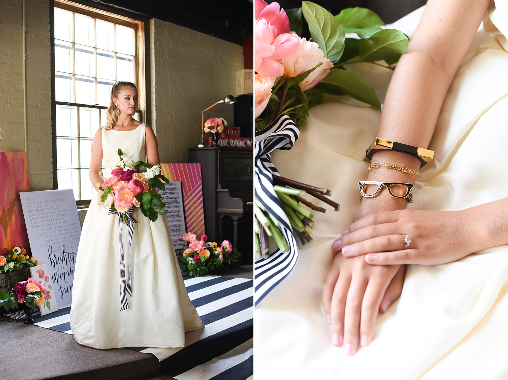 Modern pink and orange wedding ideas with Kate Spade Goreski Glasses bracelet. Photos by Mikkel Paige photography, planning by Ashton Events and Every Last Detail.