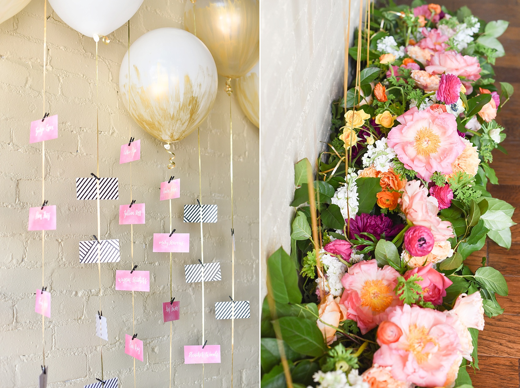 Modern pink and orange wedding ideas balloon escort card display. Photos by Mikkel Paige photography, planning by Ashton Events and Every Last Detail.