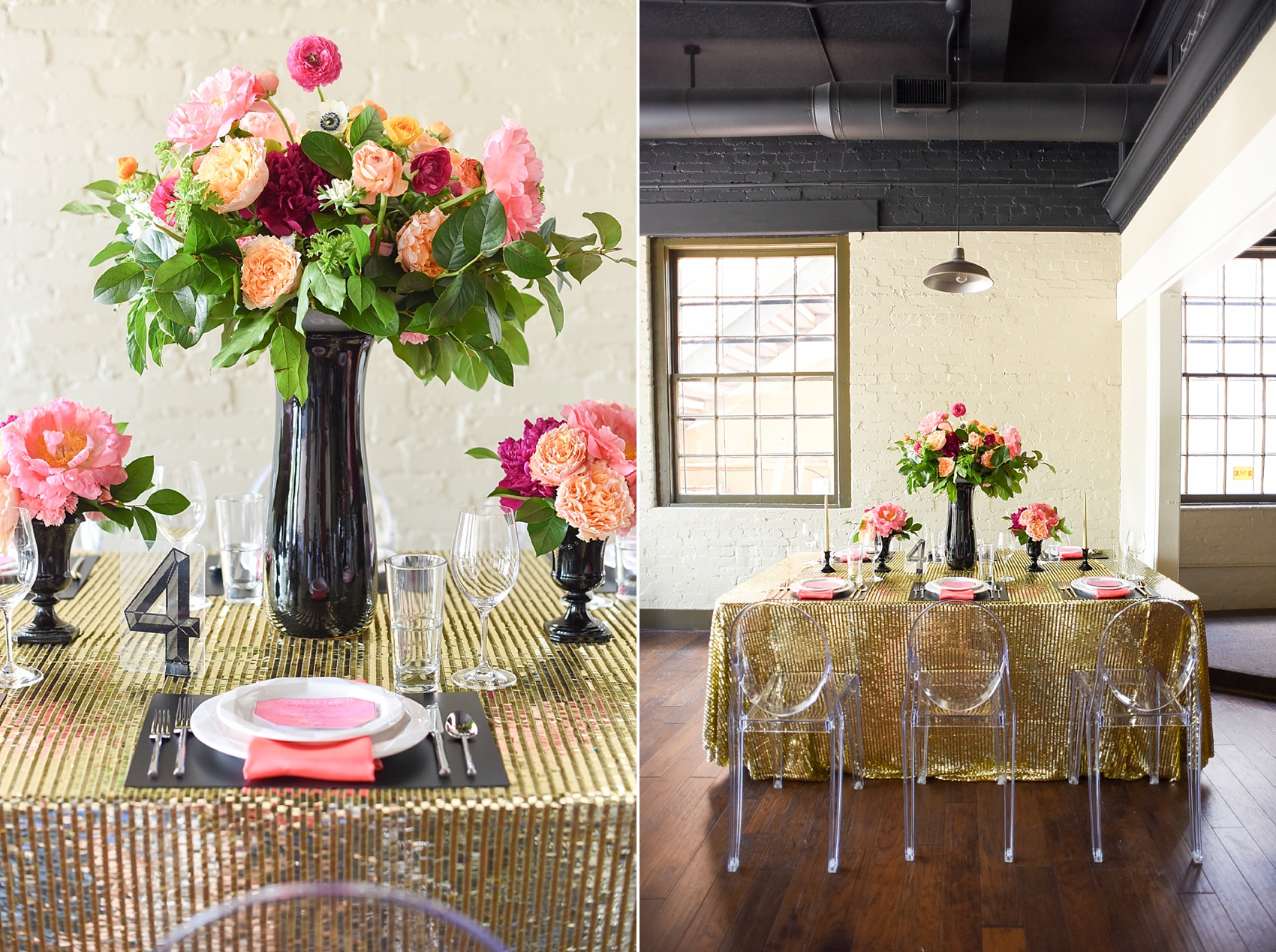 Modern pink and orange wedding ideas with gold sequin linen and ghost chair setup. Photos by Mikkel Paige photography, planning by Ashton Events and Every Last Detail.