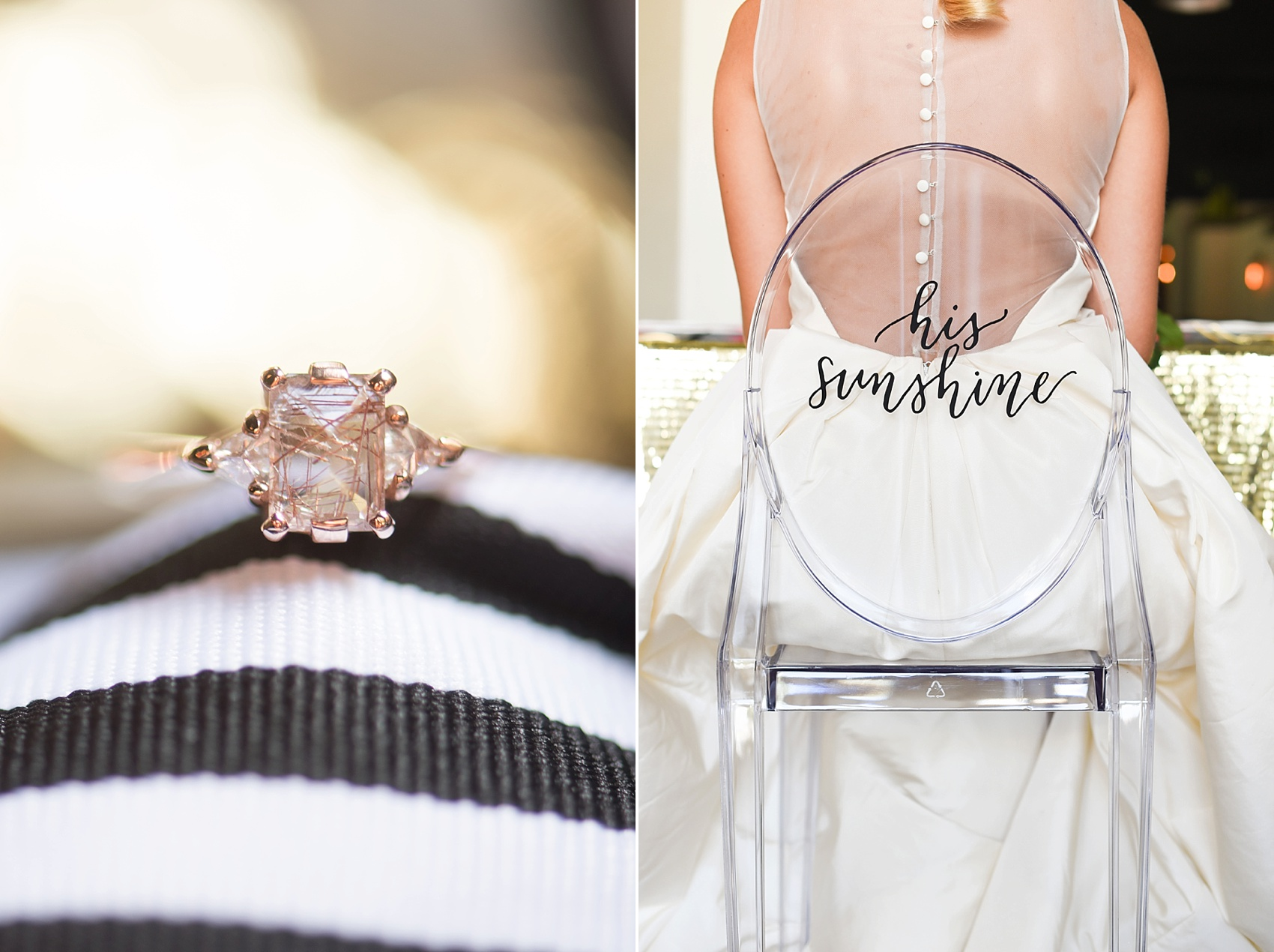 Modern pink and orange wedding ideas with gold rutilated quartz engagement ring. Photos by Mikkel Paige photography, planning by Ashton Events and Every Last Detail.