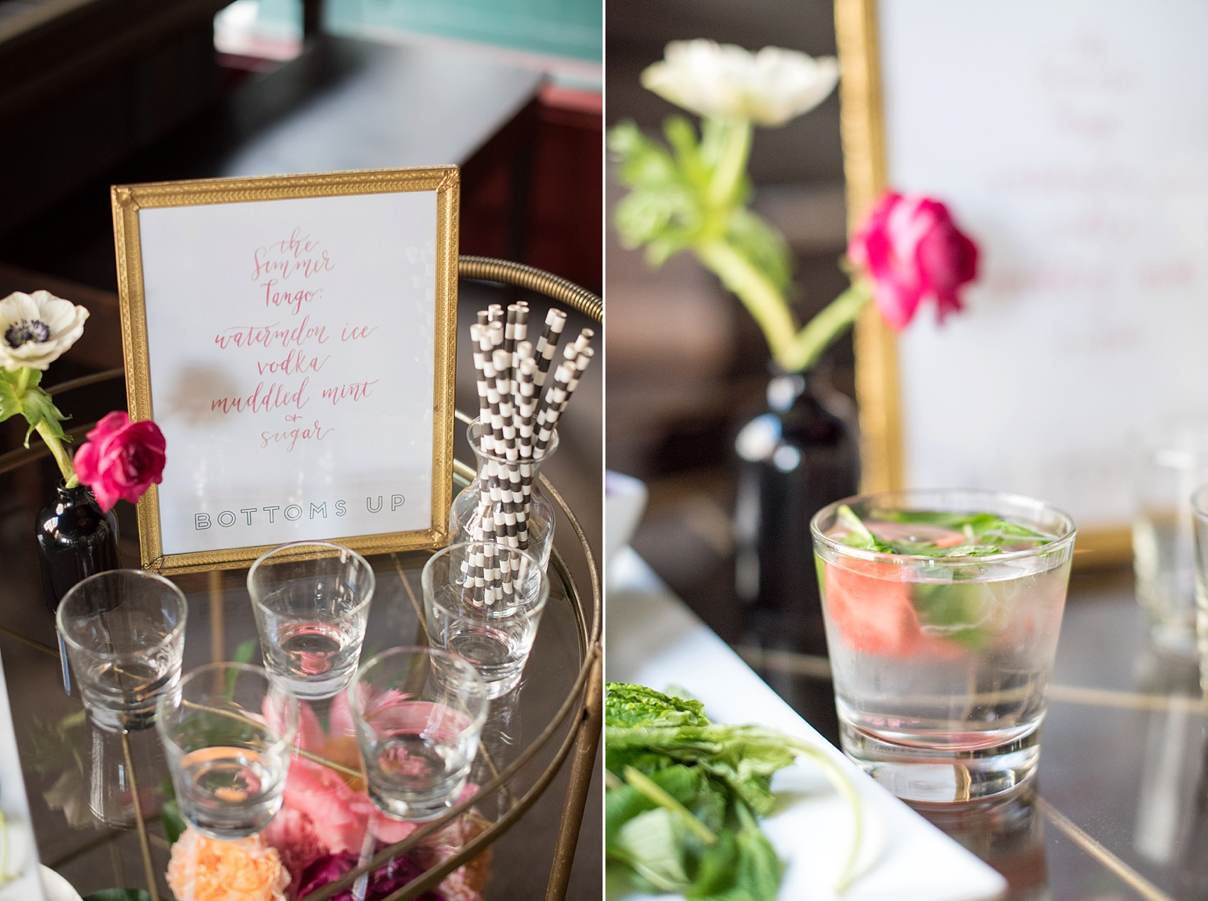 Modern pink and orange wedding ideas with gold sequin linen, bar cart and ghost chair setup. Photos by Mikkel Paige photography, planning by Ashton Events and Every Last Detail.