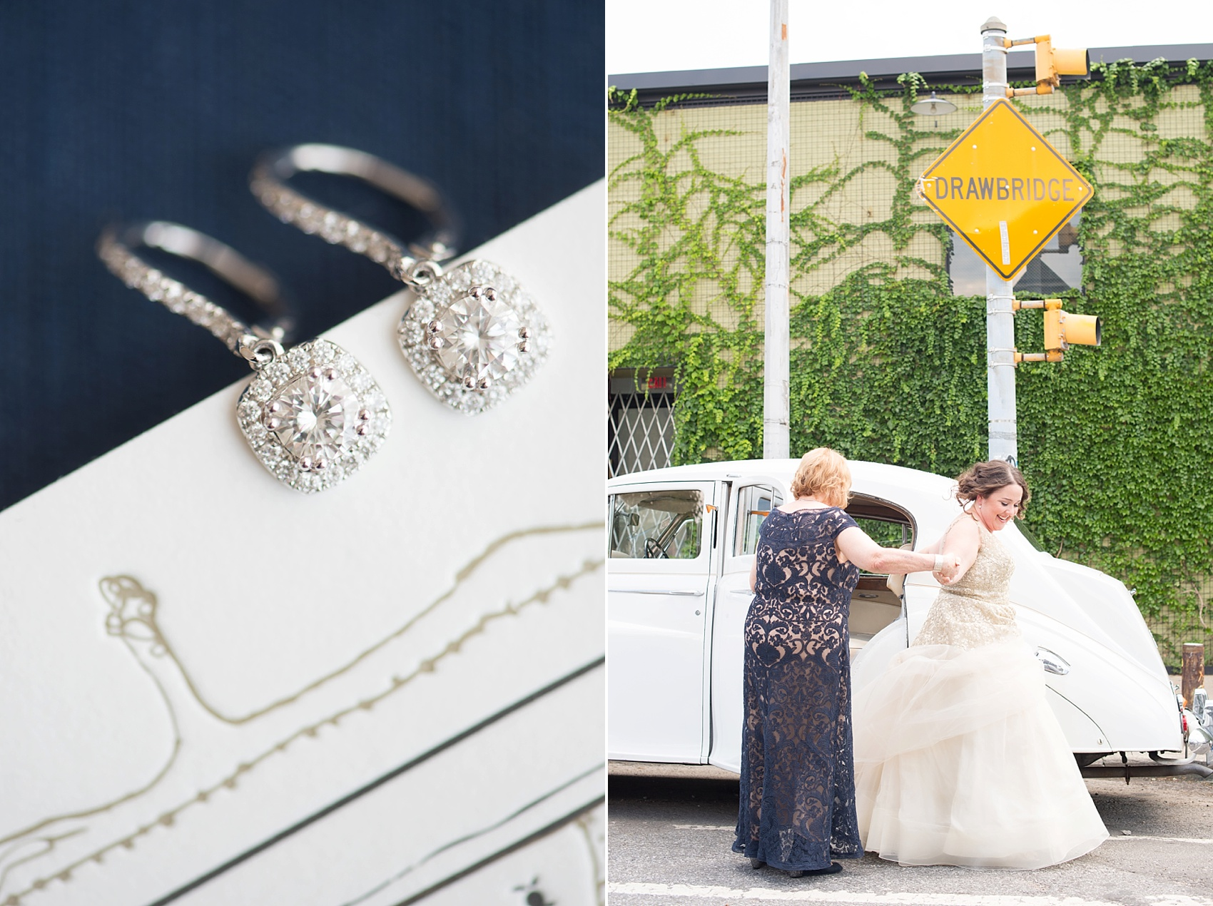 501 Union lesbian wedding - vintage Rolls Royce and earrings. Photos by Mikkel Paige Photography, in Brooklyn, NYC.