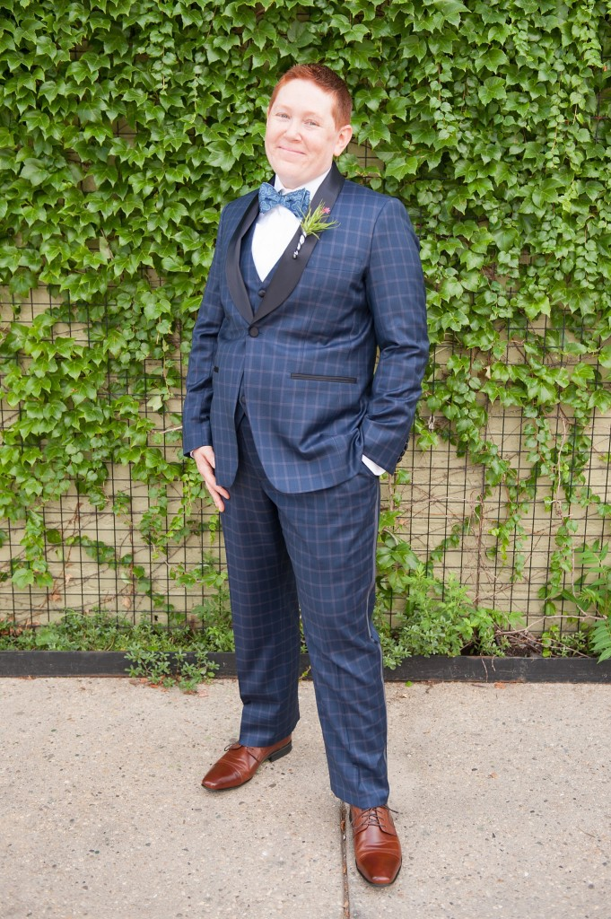 501 Union lesbian wedding - custom blue plaid suit for the bride! Photos by Mikkel Paige Photography, in Brooklyn, NYC.