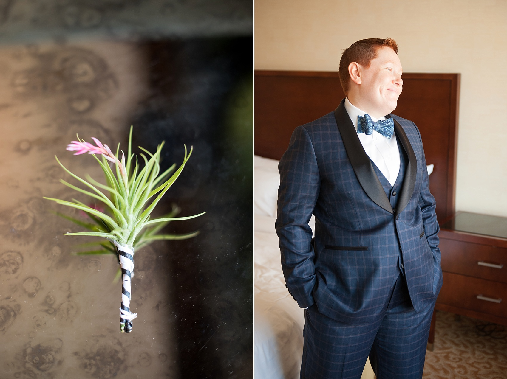 501 Union lesbian wedding - bride in custom suit with air plant boutonniere by August, Sage and Violet. Photos by Mikkel Paige Photography, in Brooklyn, NYC.
