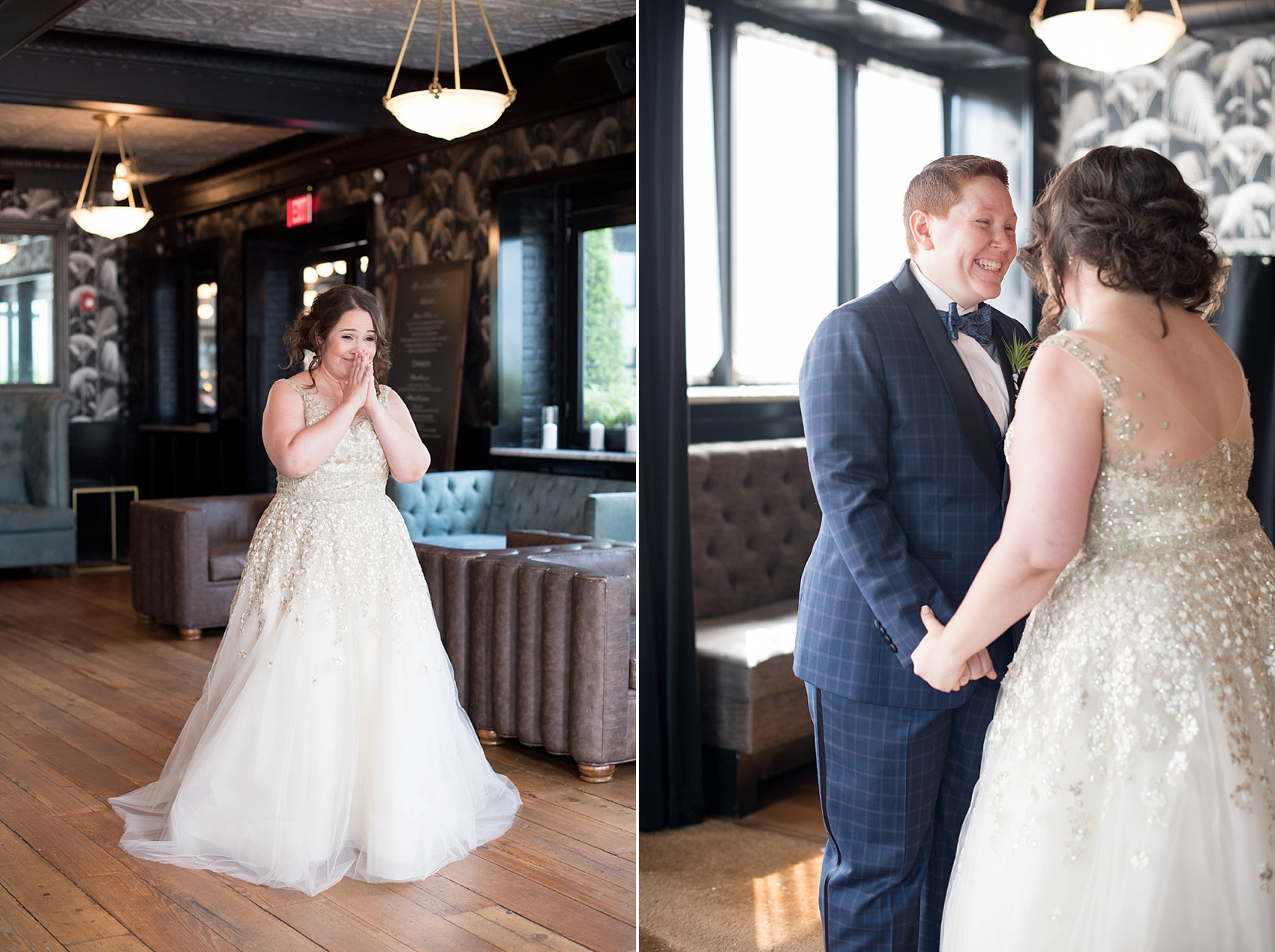 First look for a 501 Union lesbian wedding. Photos by Mikkel Paige Photography, in Brooklyn, NYC. Planning by Ashley M Chamblin Events.