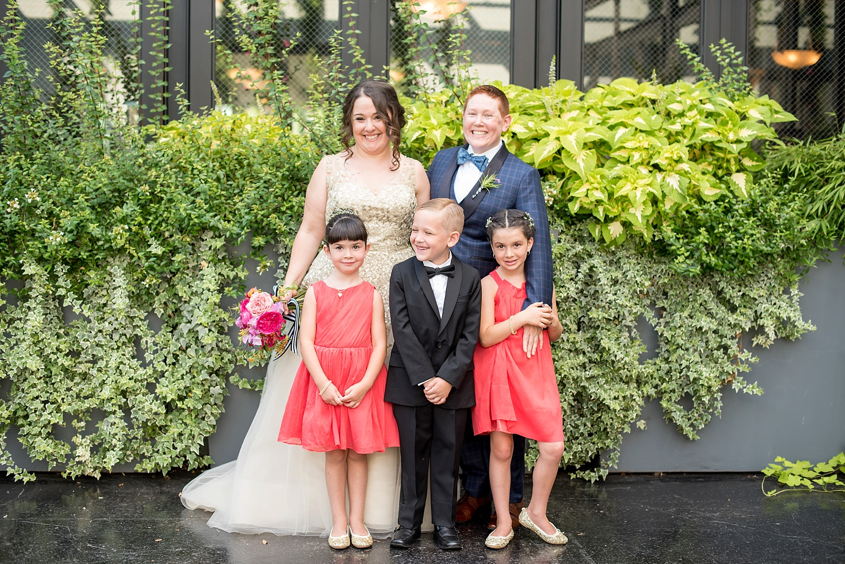 Flower girls and ring bearer at a 501 Union lesbian wedding. Photos by Mikkel Paige Photography, in Brooklyn, NYC. Planning by Ashley M Chamblin Events.