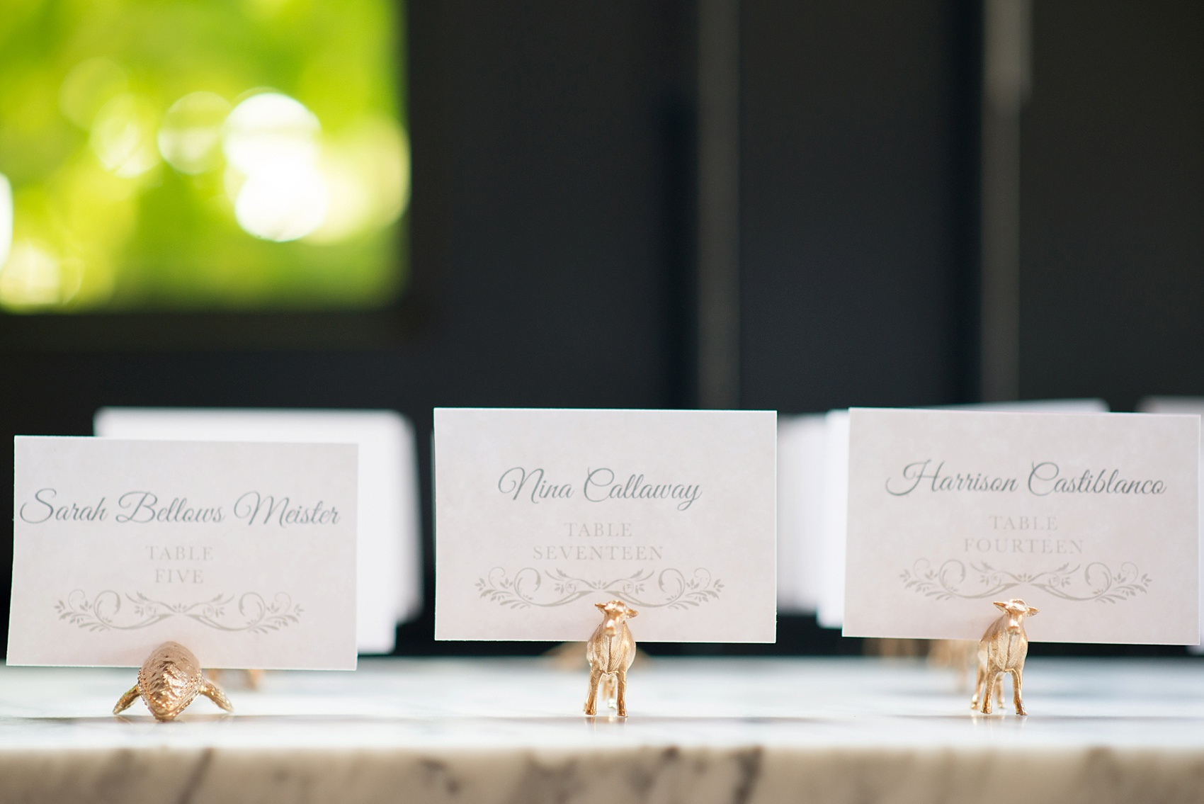 501 Union lesbian wedding gold animal card holders. Photos by Mikkel Paige Photography, in Brooklyn, NYC. Planning by Ashley M Chamblin Events.