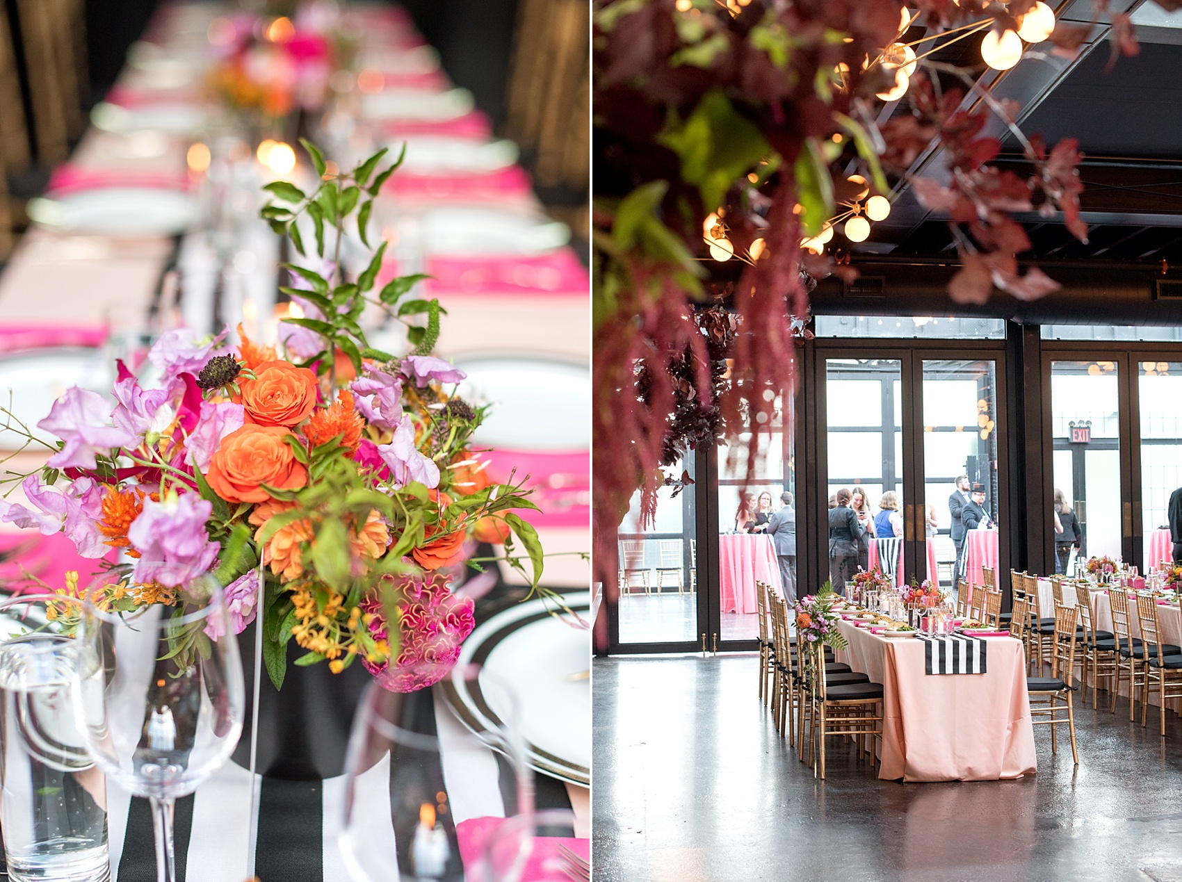 501 Union lesbian wedding. Photos by Mikkel Paige Photography, in Brooklyn, NYC. Planning by Ashley M Chamblin Events. Overall room photo with pink linens and brightly colored flower centerpieces. Gold sequin backdrop. Flowers by August Sage and Violet.