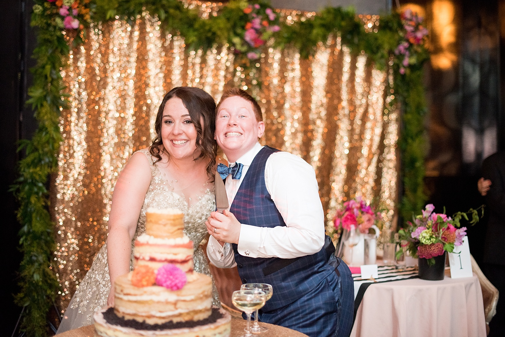 501 Union lesbian wedding in Brooklyn, NY. Photos by Mikkel Paige Photography, planning by Ashley M Chamblin. Exposed Cake by Momofuku.
