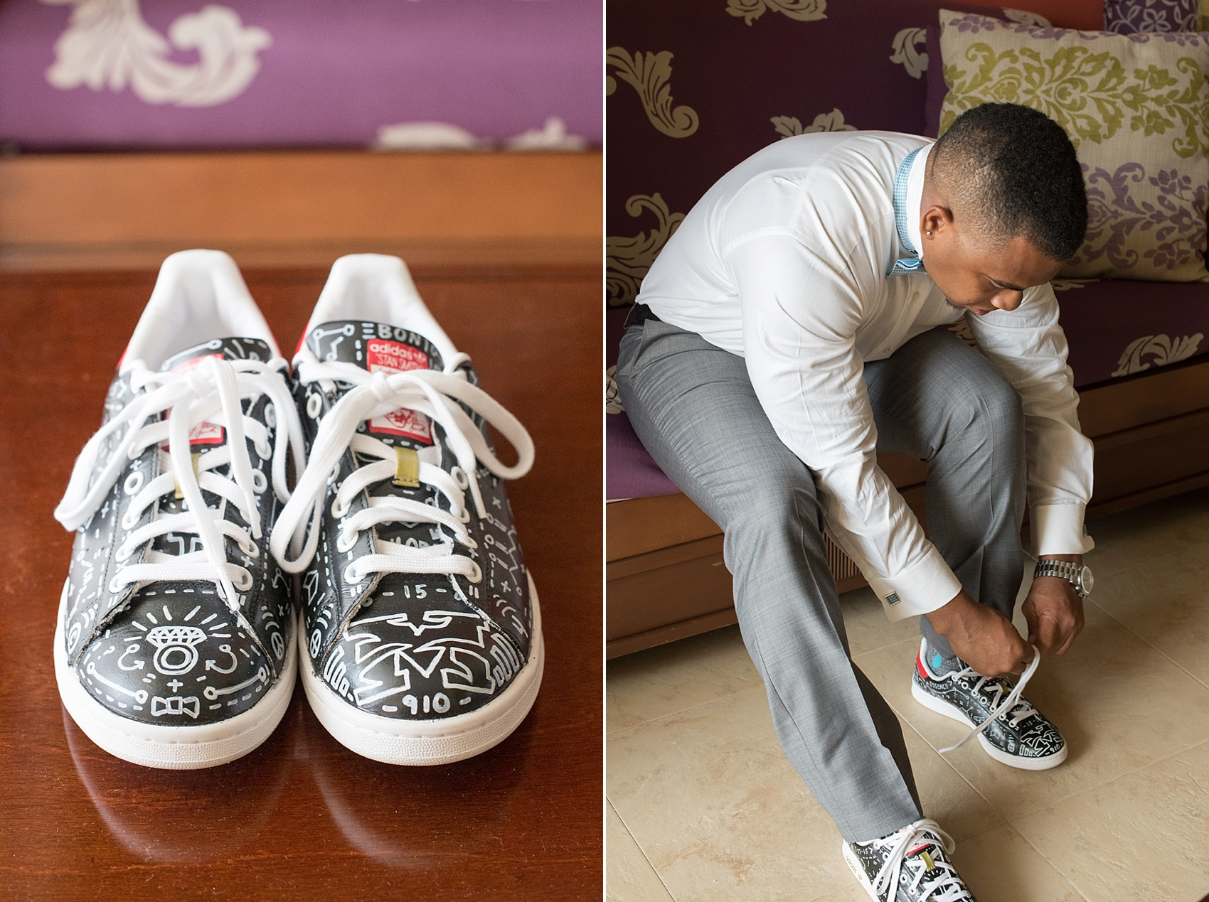 Iberostar Jamaica wedding photos, custom groom's sneakers. Images by Mikkel Paige Photography.