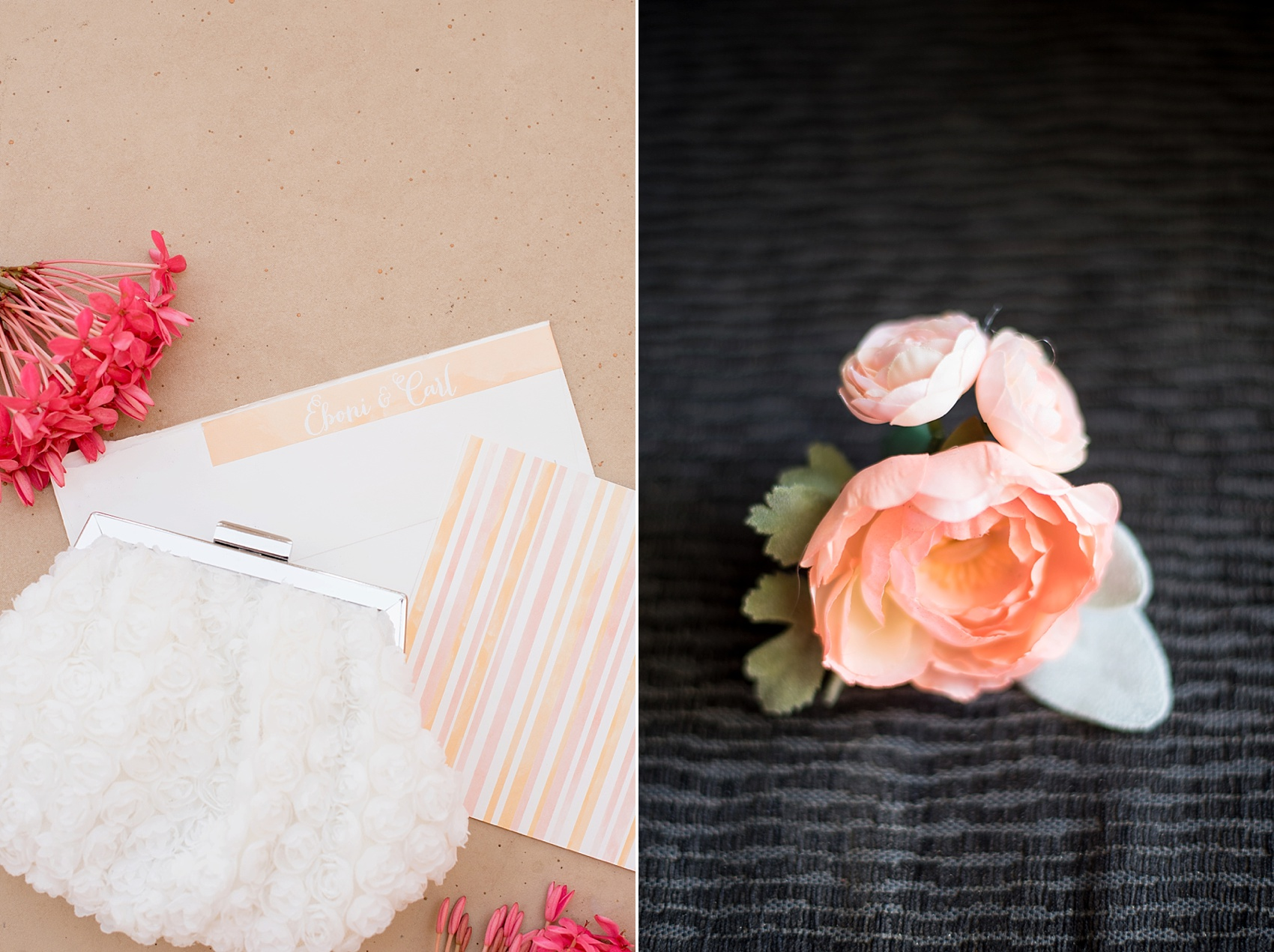 Iberostar Jamaica wedding photos, corsage and invitation. Images by Mikkel Paige Photography.