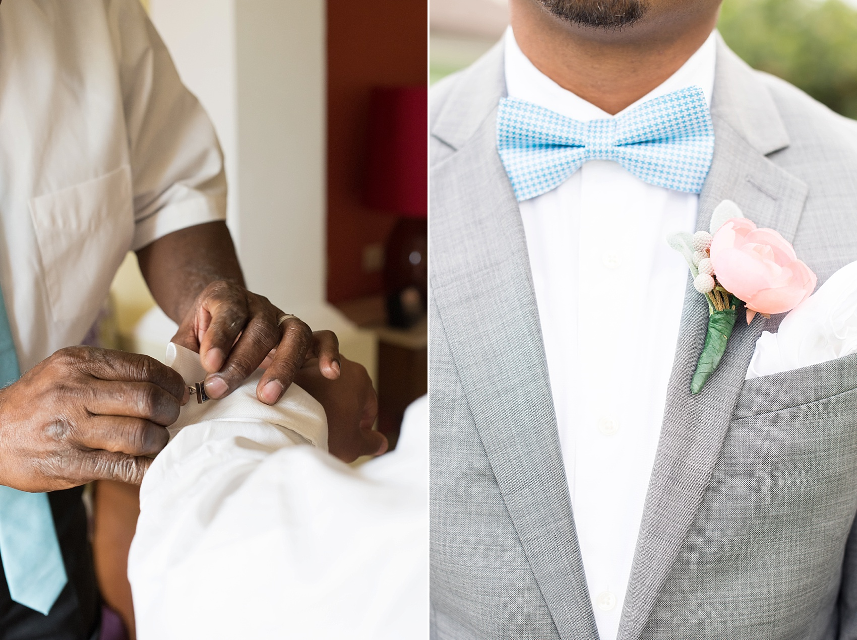 Iberostar Jamaica wedding photos, groom's blue and white checkered pattern bow tie. Images by Mikkel Paige Photography.