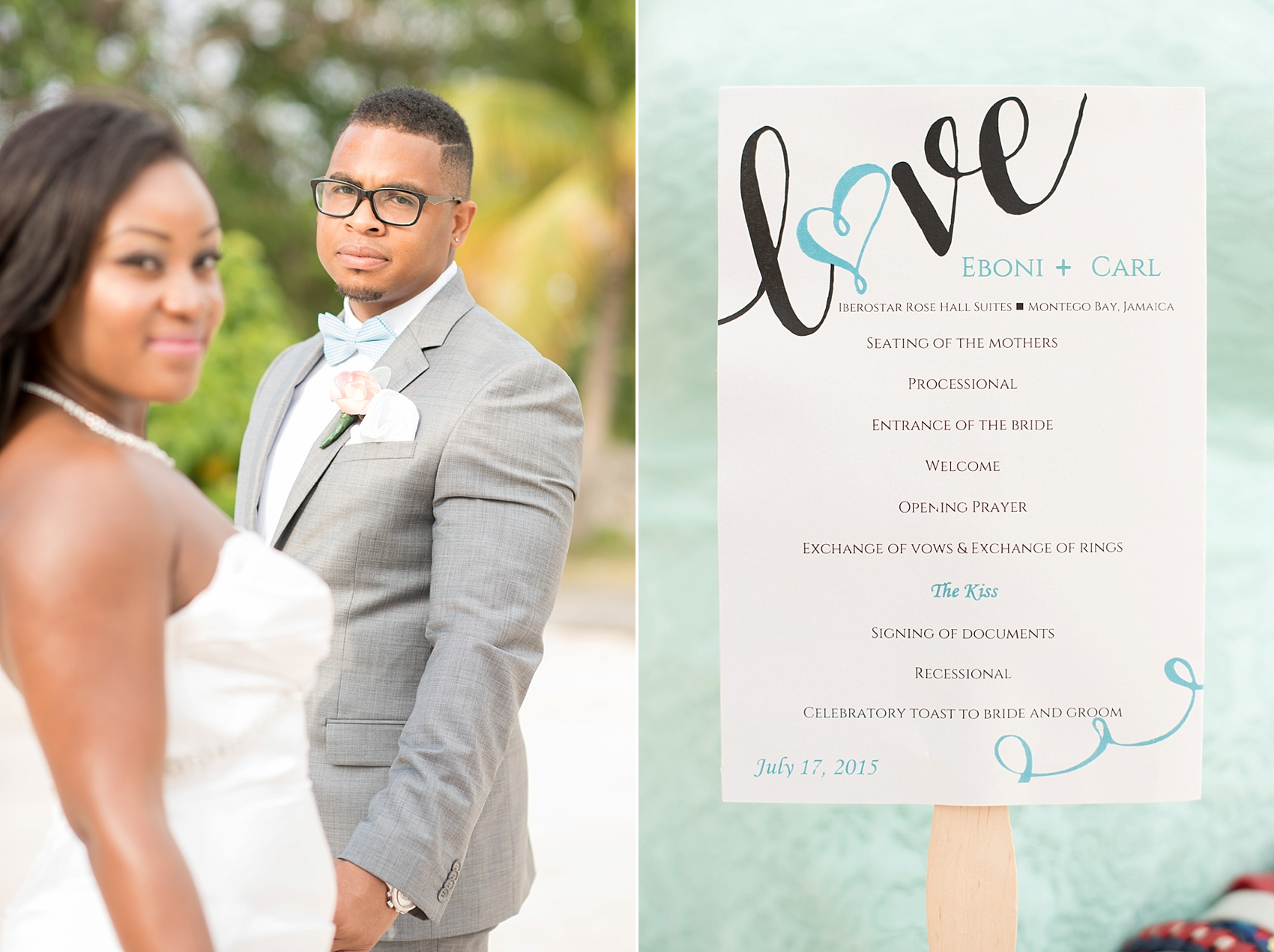 Iberostar Jamaica wedding photos, ceremony program. Images by Mikkel Paige Photography.