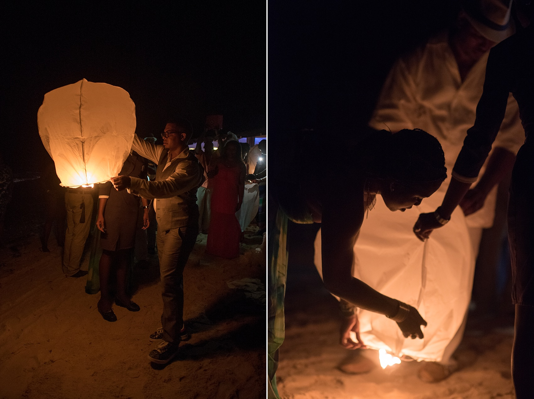 Iberostar Jamaica beach reception Chinese lantern wedding photos. Images by Mikkel Paige Photography.