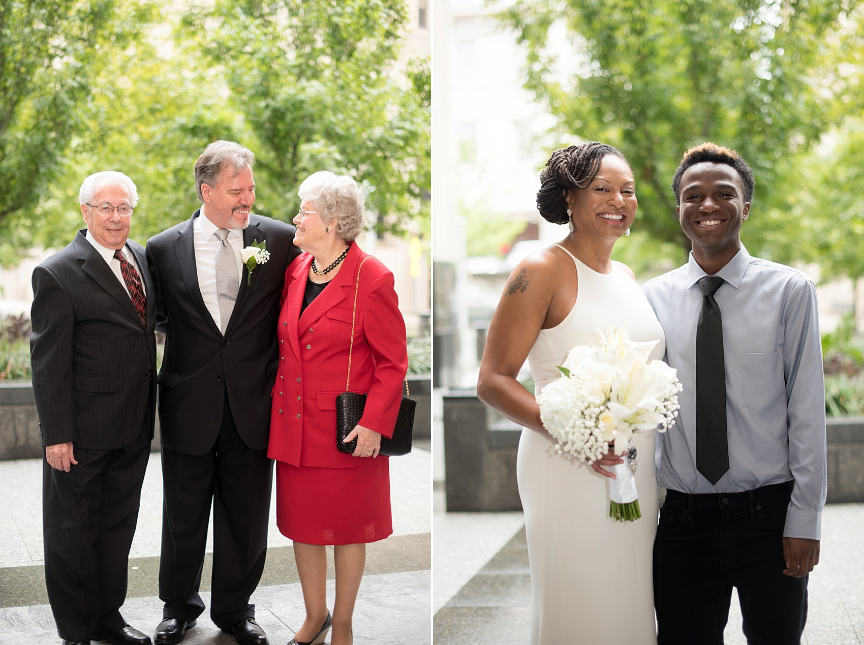 Downtown Raleigh, NC mixed race courthouse wedding. Photos by Mikkel Paige Photography. Photos of the bride and groom.