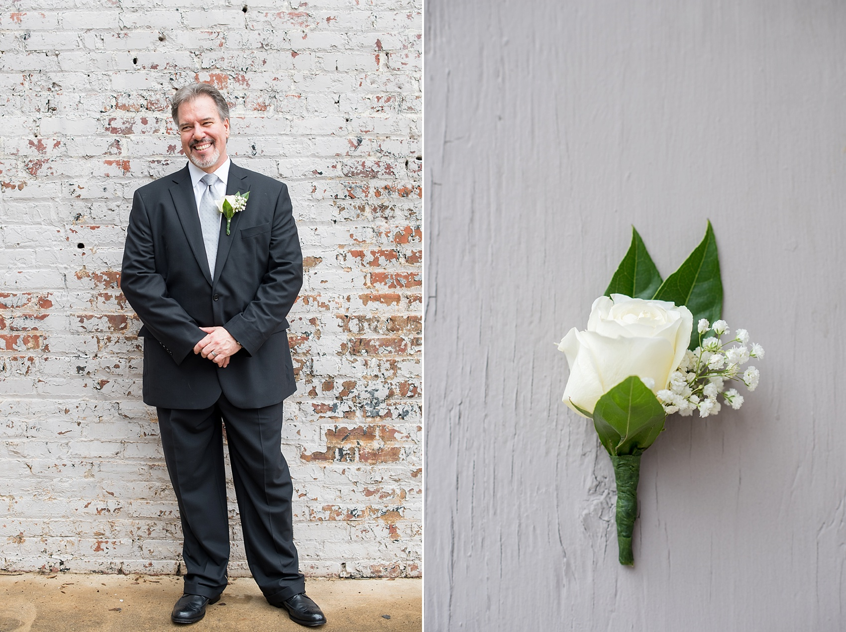 Downtown Raleigh, NC mixed race wedding. Photos by Mikkel Paige Photography. Older groom and white rose boutonniere.