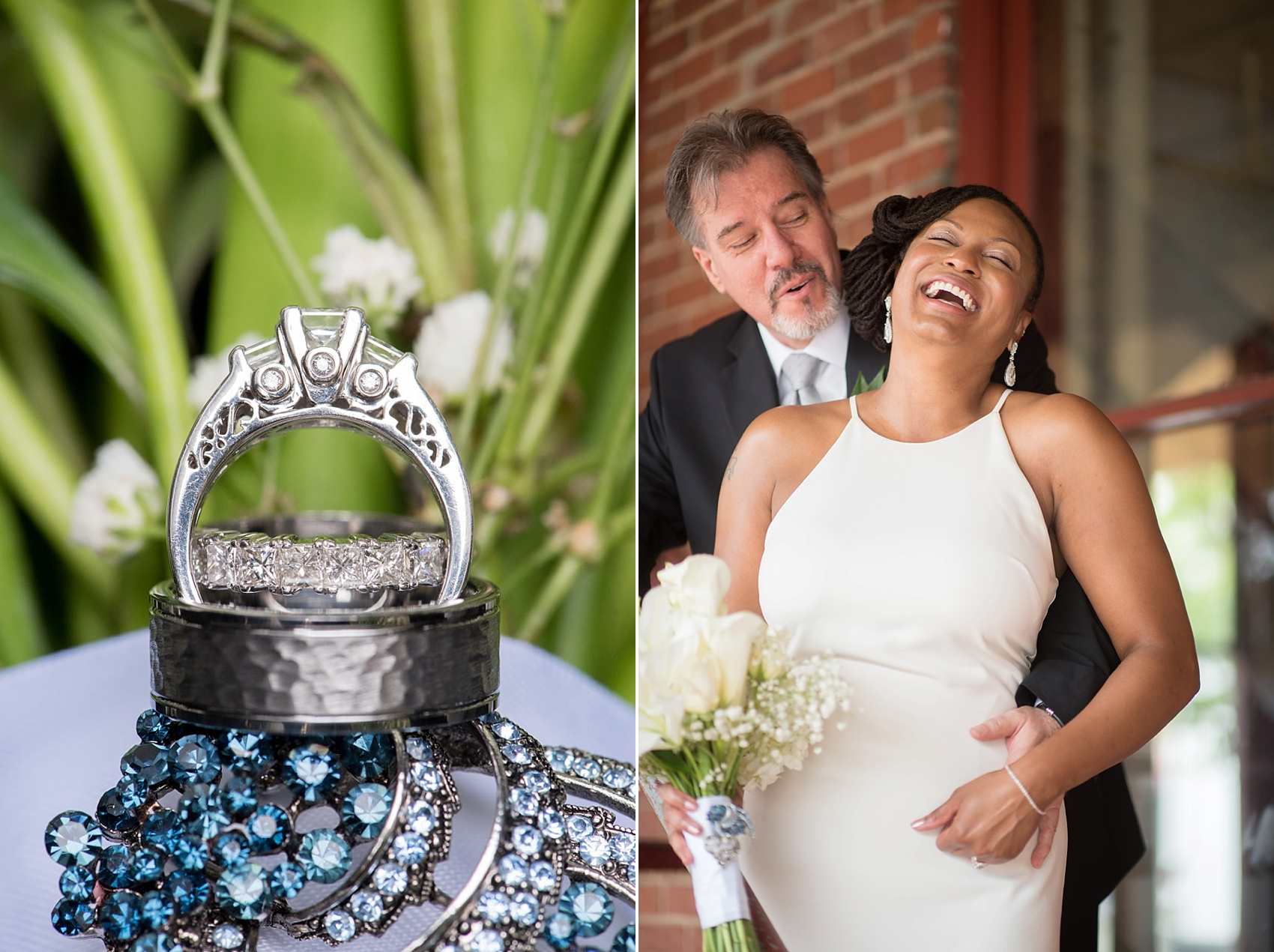Downtown Raleigh, NC mixed race wedding. Photos by Mikkel Paige Photography. Photos of the bride and groom and ring detail.