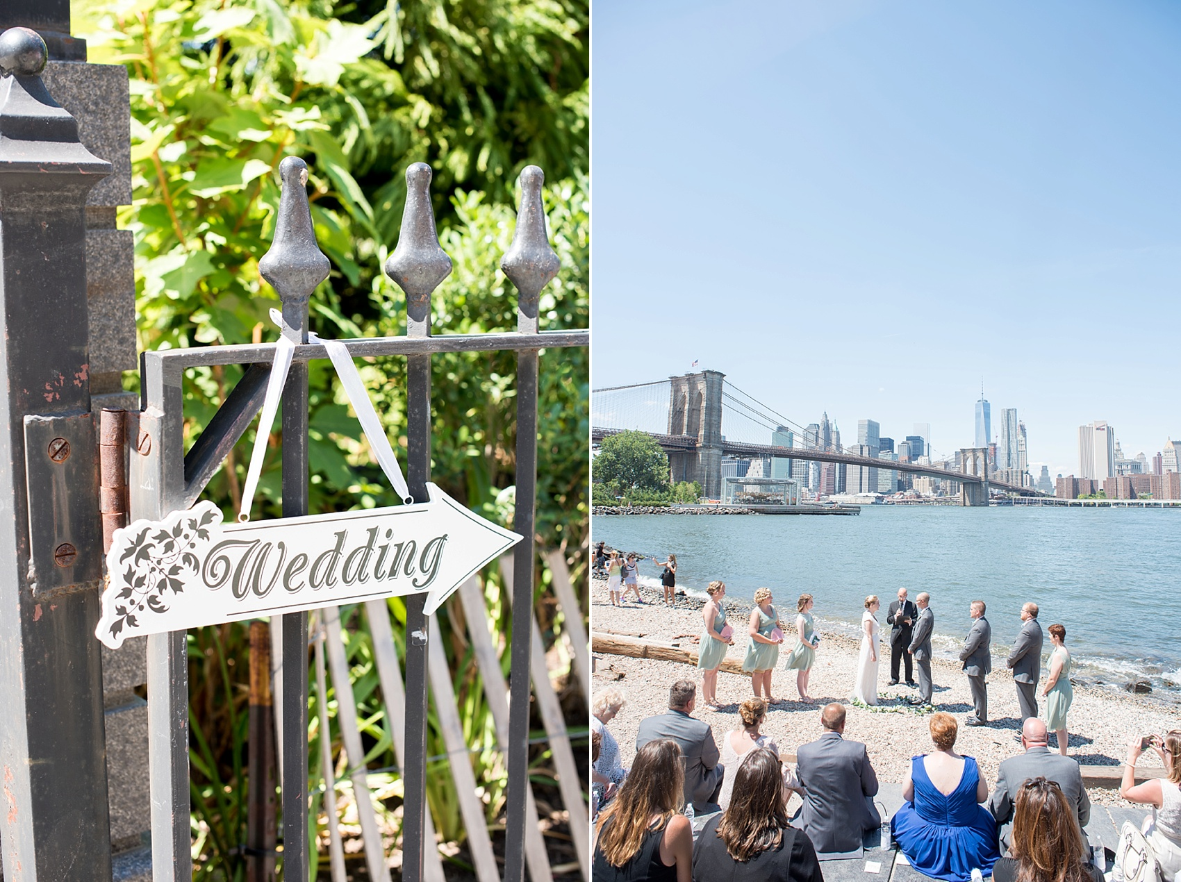 Signage For A Waterfront Wedding Ceremony At Brooklyn Bridge Park Photos By Mikkel Paige Photography