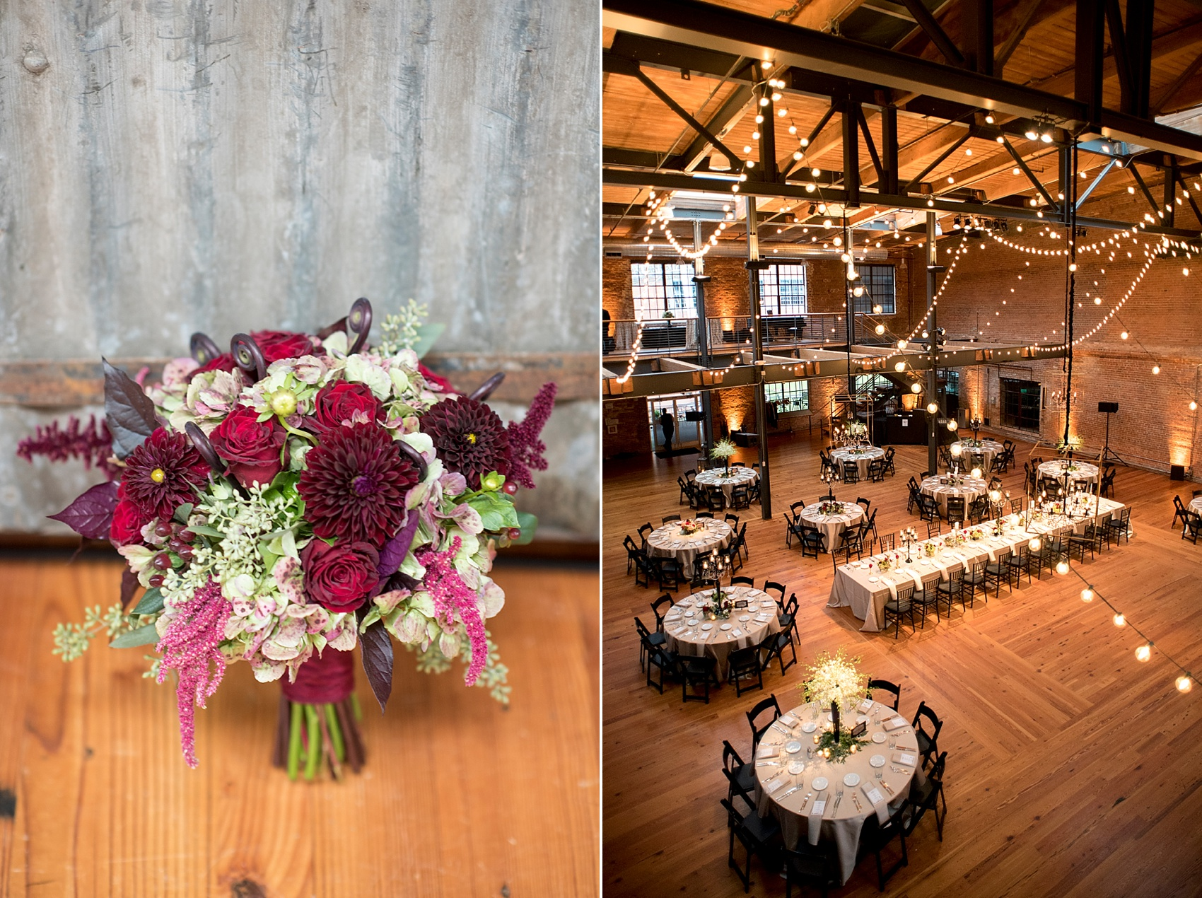 Bay 7 Durham, NC wedding. Photos by Mikkel Paige Photography. Burgundy bouquet by Tre Bella.