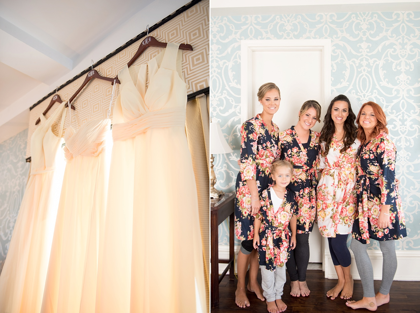 Bridesmaids and bridal party prepare at the Molly Pitcher Inn. Photo by Mikkel Paige Photography.