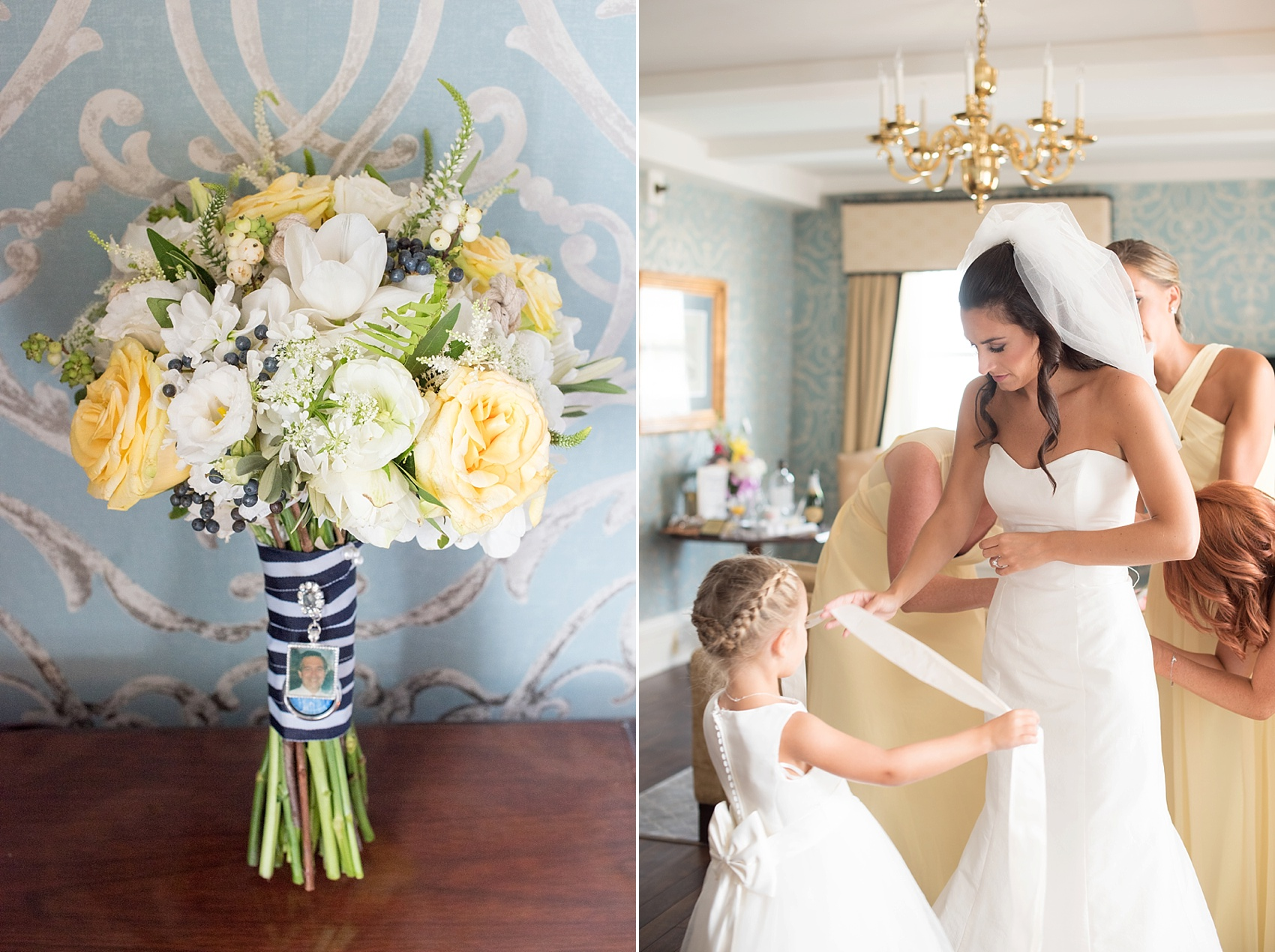 Flower girl and yellow and white bouquet with navy striped ribbon image at the Molly Pitcher Inn. Photo by Mikkel Paige Photography.