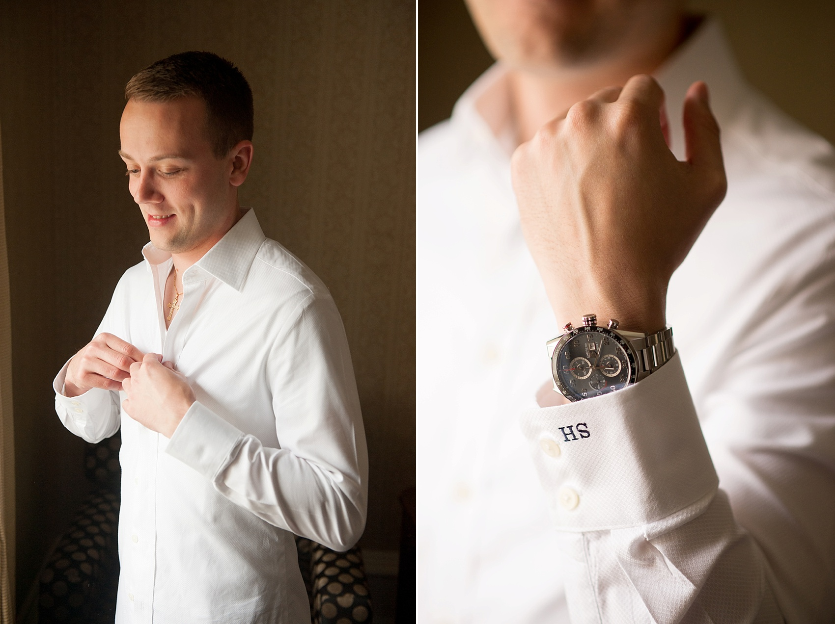 Groom gets ready with his monogrammed shirt at the Molly Pitcher Inn. Photo by Mikkel Paige Photography.