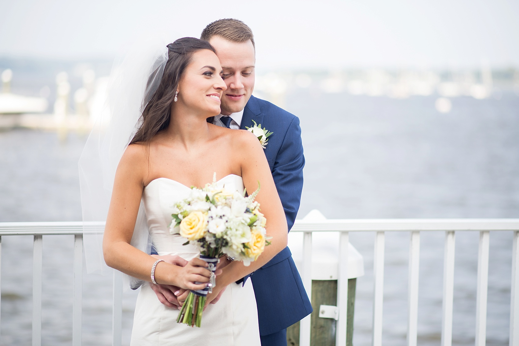 First look on the waterfront for this nautical bride and groom at the Molly Pitcher Inn. Photo by Mikkel Paige Photography.
