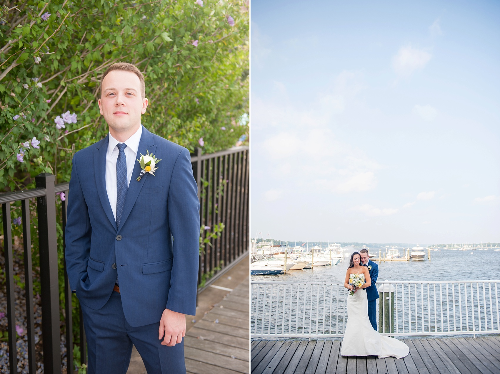 Bride and groom on the waterfront in New Jersey for this nautical wedding at the Molly Pitcher Inn. Photo by Mikkel Paige Photography.
