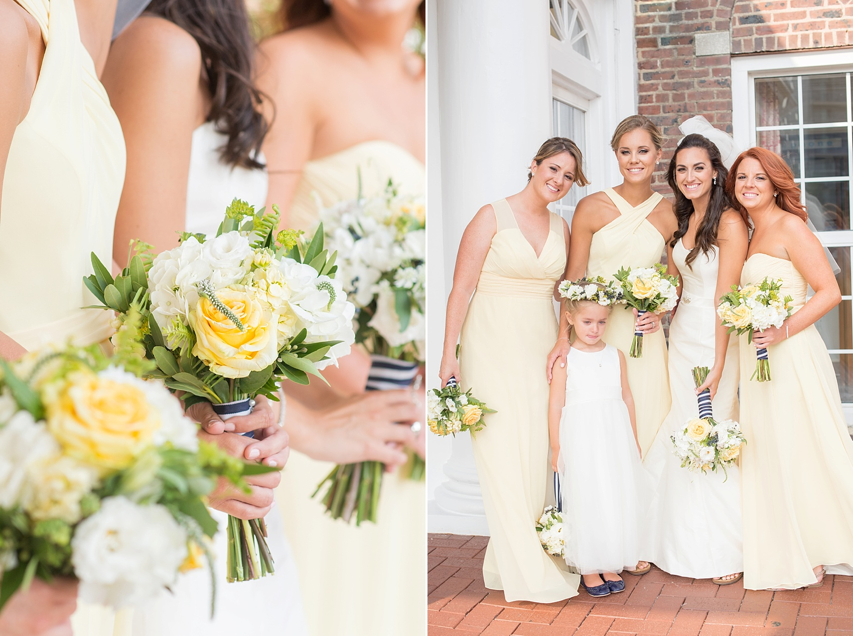 Bridal party in yellow chiffon dresses in New Jersey for this nautical wedding at the Molly Pitcher Inn. Photo by Mikkel Paige Photography.
