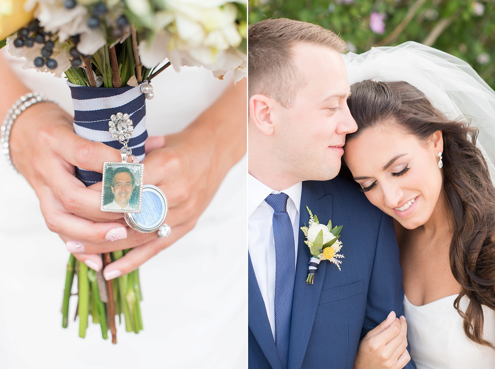 "Special charms on the bride's bouquet to remember her father and her ""something blue"" fabric from one of his ties for her New Jersey nautical wedding at the Molly Pitcher Inn. Photo by Mikkel Paige Photography."
