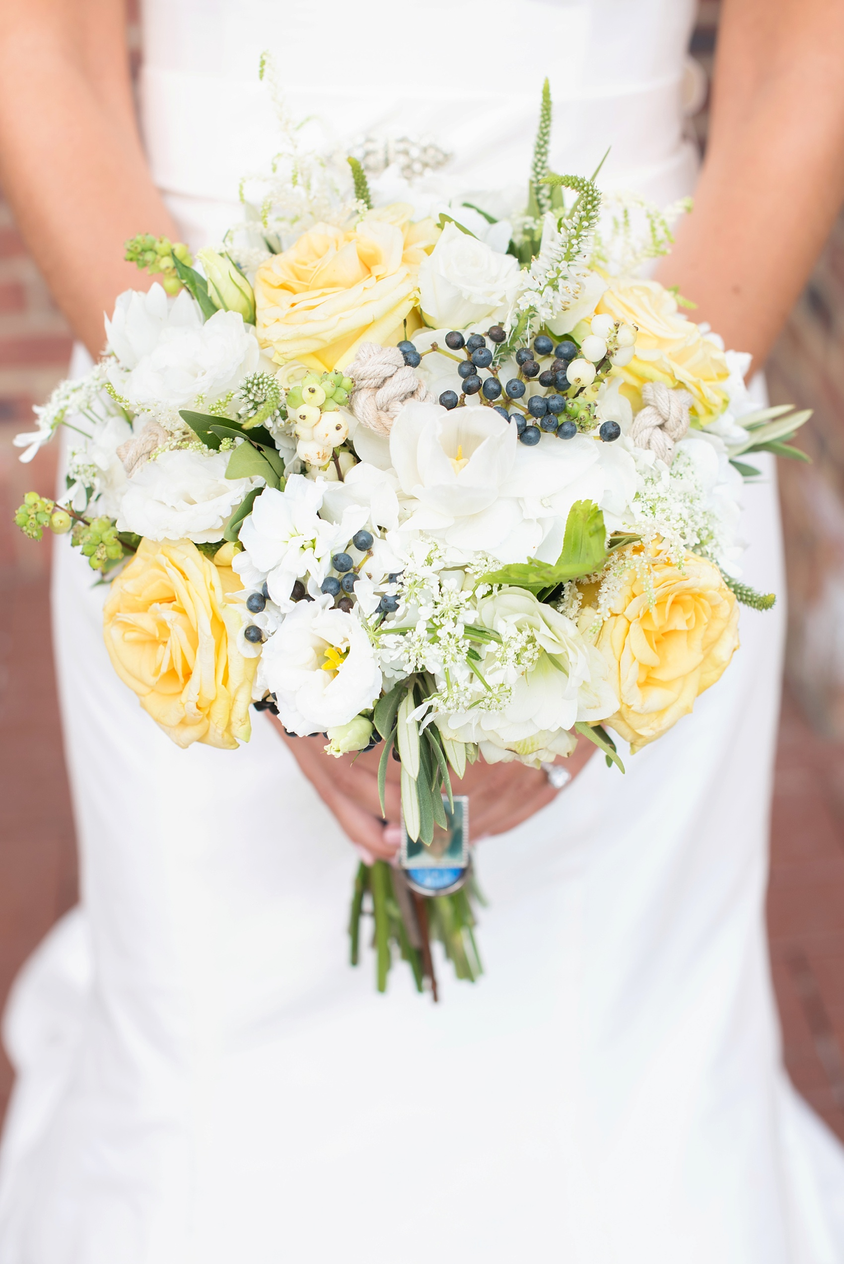 Sailors knots on a nautical themed bouquet in New Jersey at the Molly Pitcher Inn. Photo by Mikkel Paige Photography.