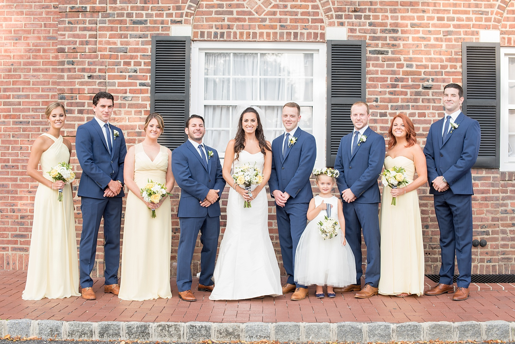 Molly pitcher inn wedding photos nautical navy and yellow pam nautical wedding at wedding party in navy blue suits and yellow chiffon dresses for the groomsmen and bridesmaids in ombrellifo Gallery