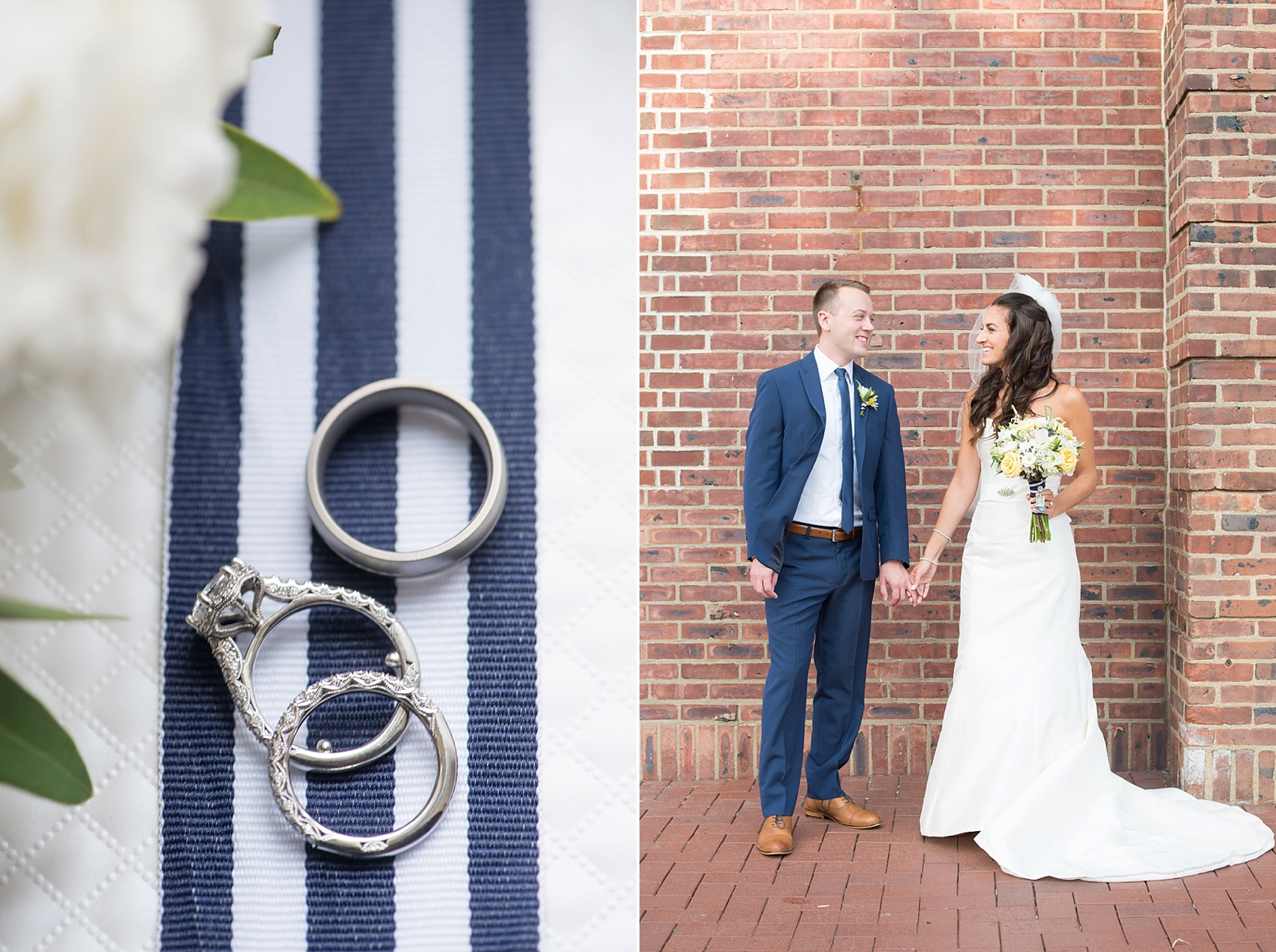 Bride and groom in New Jersey for their nautical wedding at the Molly Pitcher Inn. Photo by Mikkel Paige Photography. Wedding rings by Tacori.