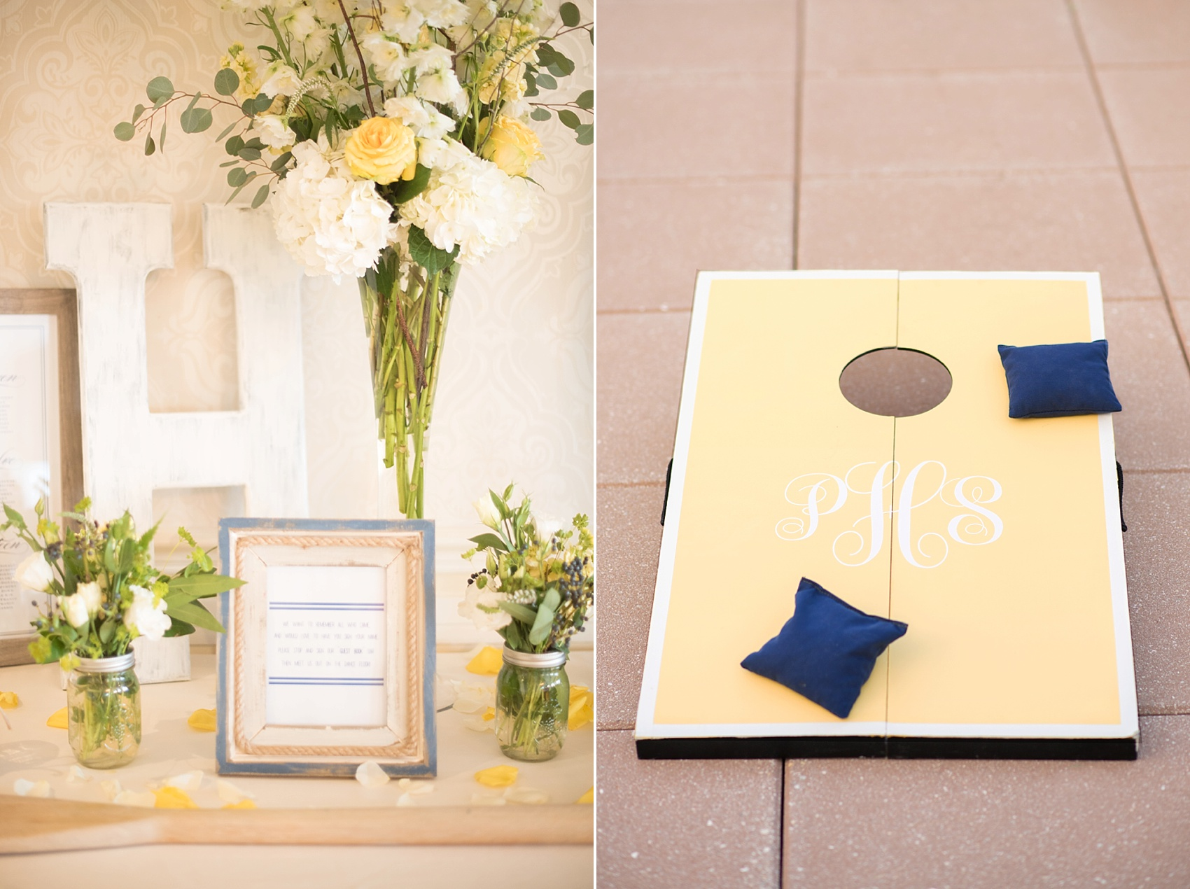 New Jersey waterfront wedding with a nautical theme at the Molly Pitcher Inn. Photo by Mikkel Paige Photography. Custom monogrammed cornhole game at cocktail hour.