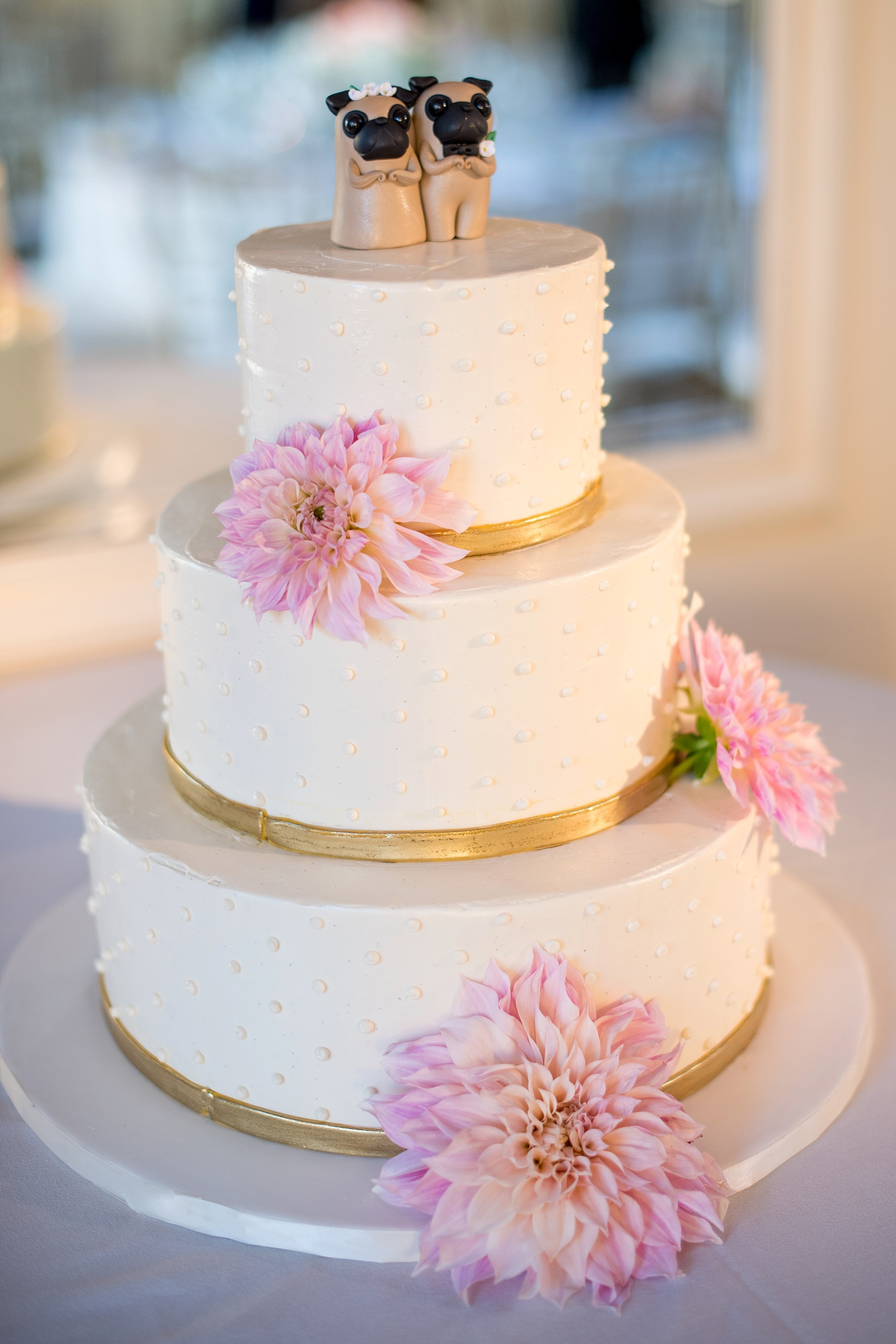 Wedding Cake Pink Little Flowers Up Side