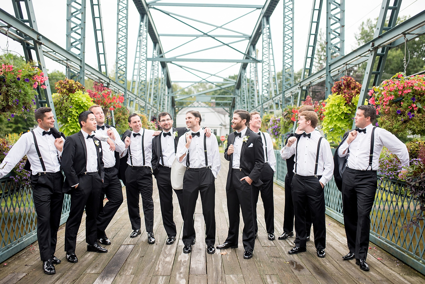 Groomsmen In Simsbury Connecticut Flower Bridge Images By Nyc Wedding Photographer Mikkel Paige Photography