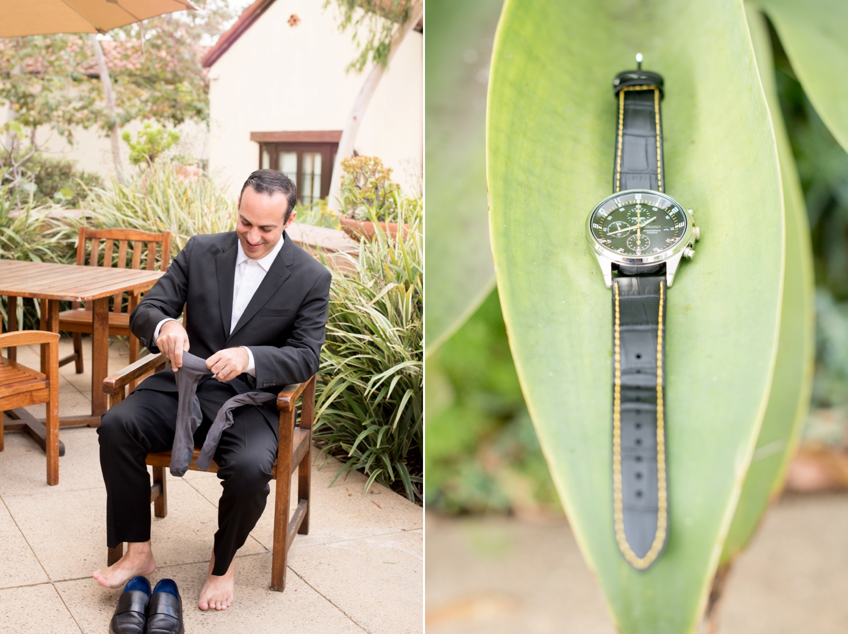 Estancia La Jolla wedding photography by Mikkel Paige Photography. Tropical wedding, California coast. Groom getting ready photos.