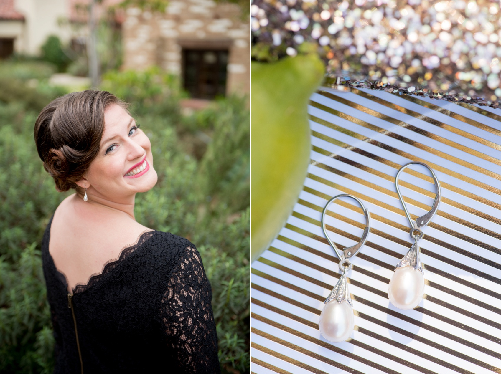 Estancia La Jolla wedding photography by Mikkel Paige Photography. Tropical wedding, California coast. Black lace bridesmaids dresses with pearl drop earrings.