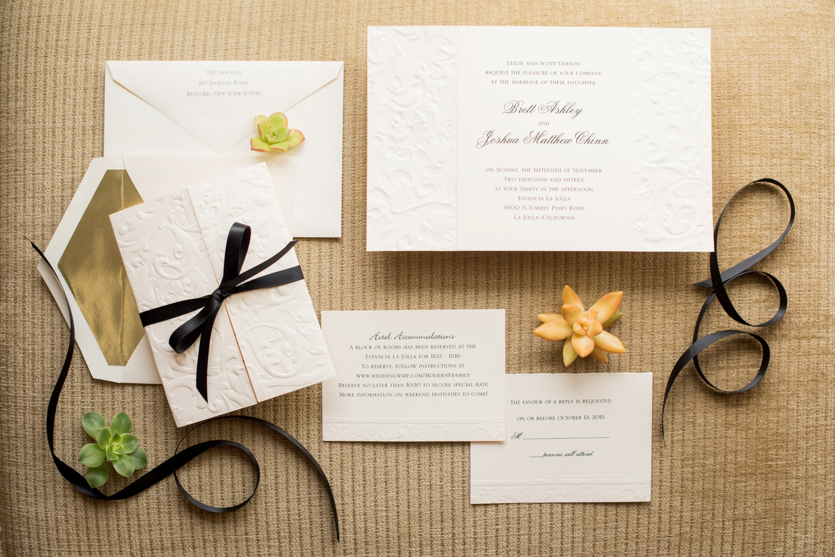 Estancia La Jolla wedding photography by Mikkel Paige Photography. Tropical wedding, California coast. Embossed ecru paper fold wedding invitations with succulent plants.