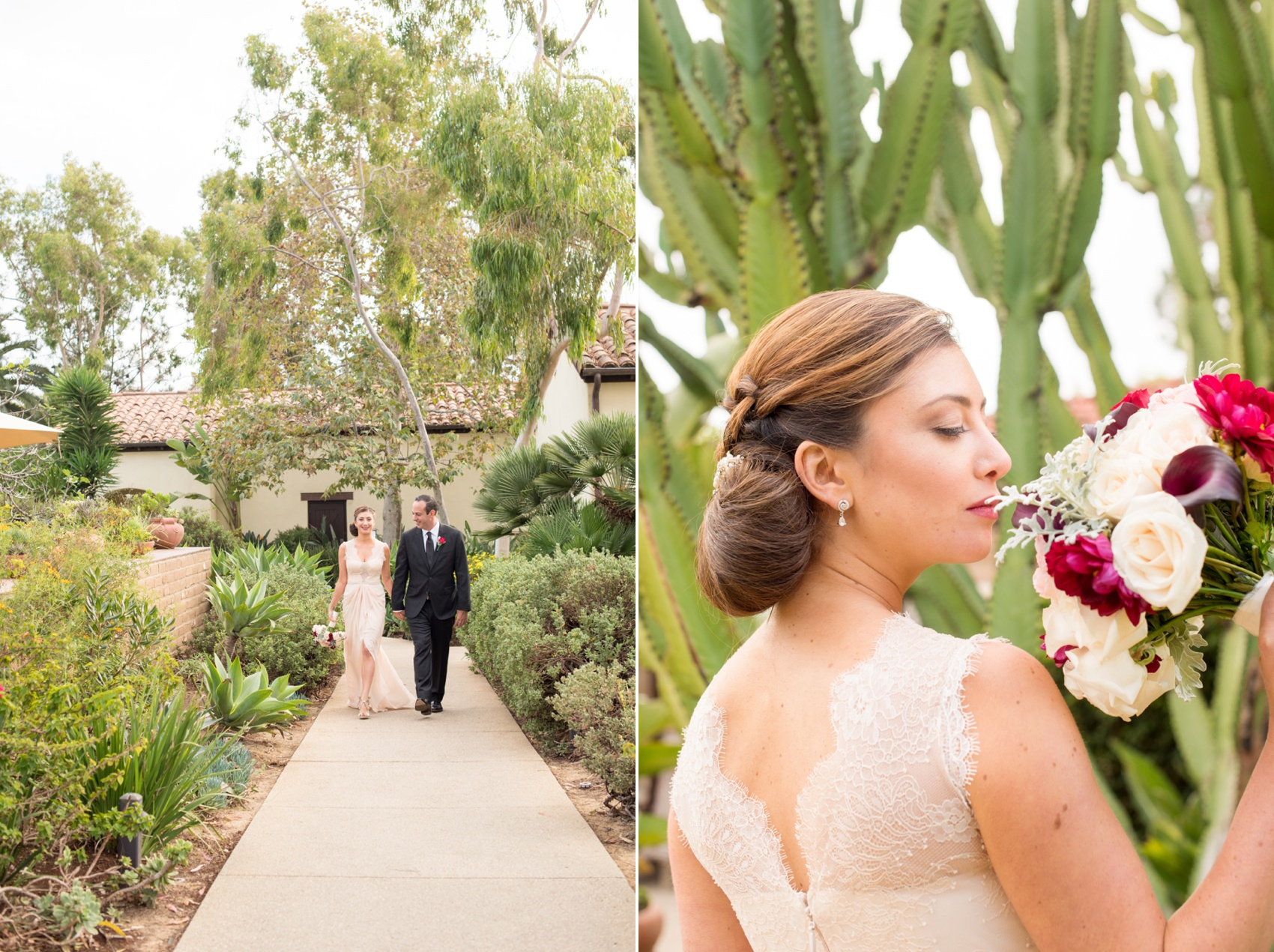 Estancia La Jolla wedding photography by Mikkel Paige Photography. Tropical wedding, California coast. Bride and groom photos.