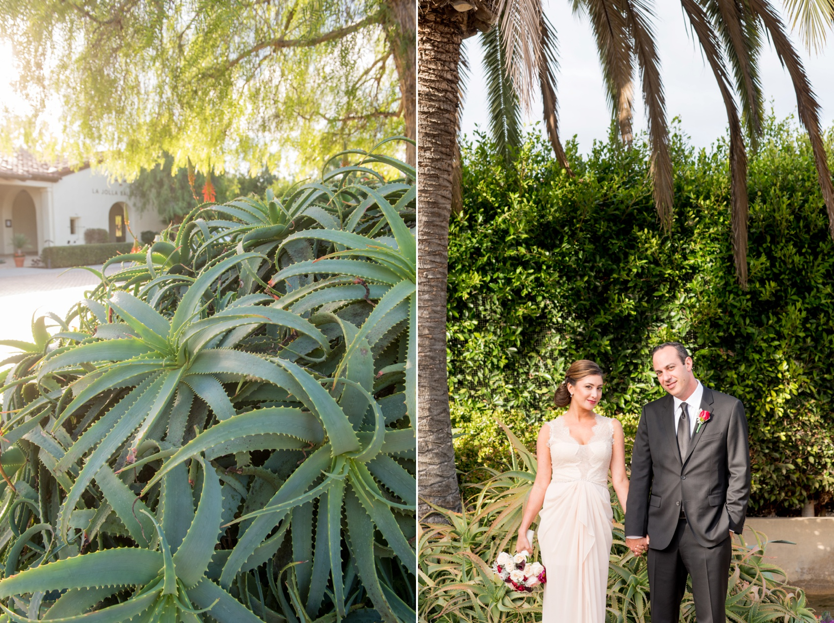 Estancia La Jolla wedding photography by Mikkel Paige Photography. Tropical wedding, California coast. Bride and groom photos. Bridal gown of lace and pink chiffon by BCBG Max Azria.