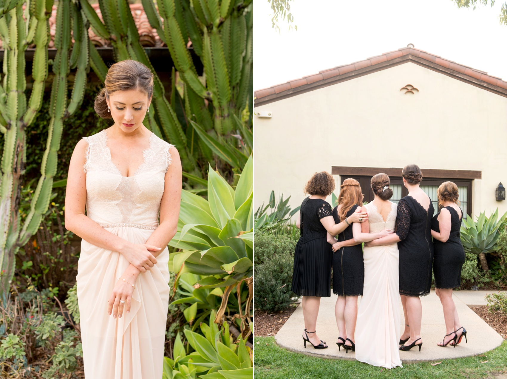 Estancia La Jolla wedding photography by Mikkel Paige Photography. Tropical wedding, California coast. Bride and groom photos. Bridesmaids in black lace and pink wedding dress with bridal party.