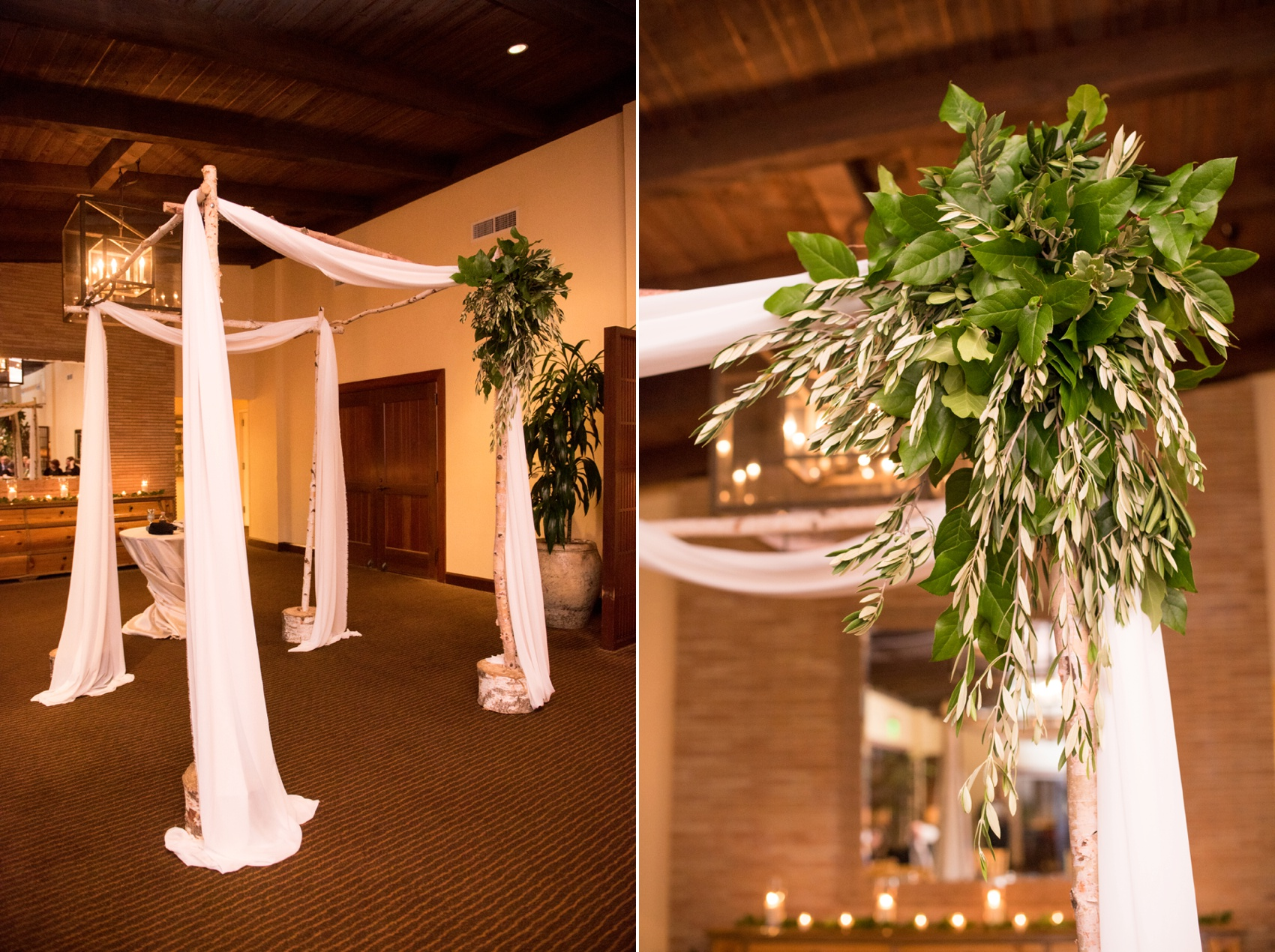 Estancia La Jolla wedding photography by Mikkel Paige Photography. Tropical wedding, California coast. Indoor chuppah for small Jewish ceremony.