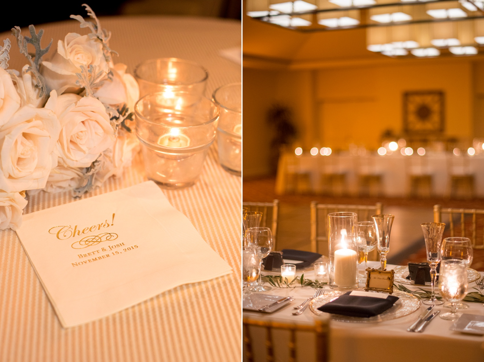 Estancia La Jolla wedding photography by Mikkel Paige Photography. Tropical wedding, California coast. Intimate indoor candlelight reception with custom Cheers cocktail napkins.