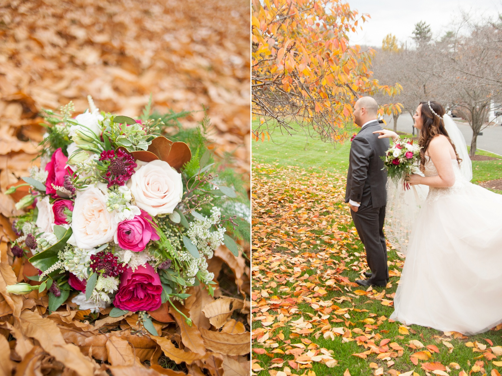 Olde Mill Inn New Jersey wedding by Mikkel Paige Photography, NYC and Raleigh wedding photographer. Bride and groom fall photos first look with flowers by The Arrangement.