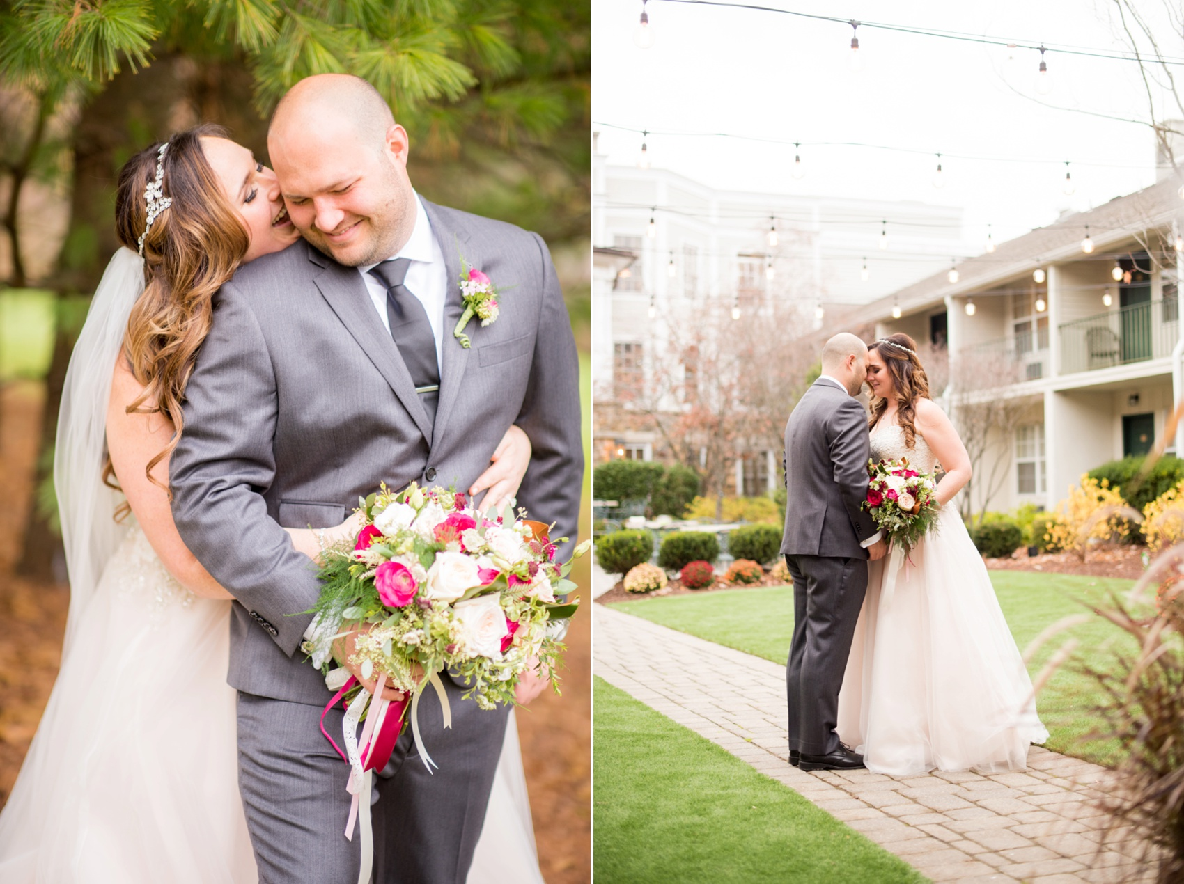 Olde Mill Inn New Jersey wedding by Mikkel Paige Photography, NYC and Raleigh wedding photographer. Bride and groom fall photos first look with flowers by The Arrangement and gown from Kleinfelds.