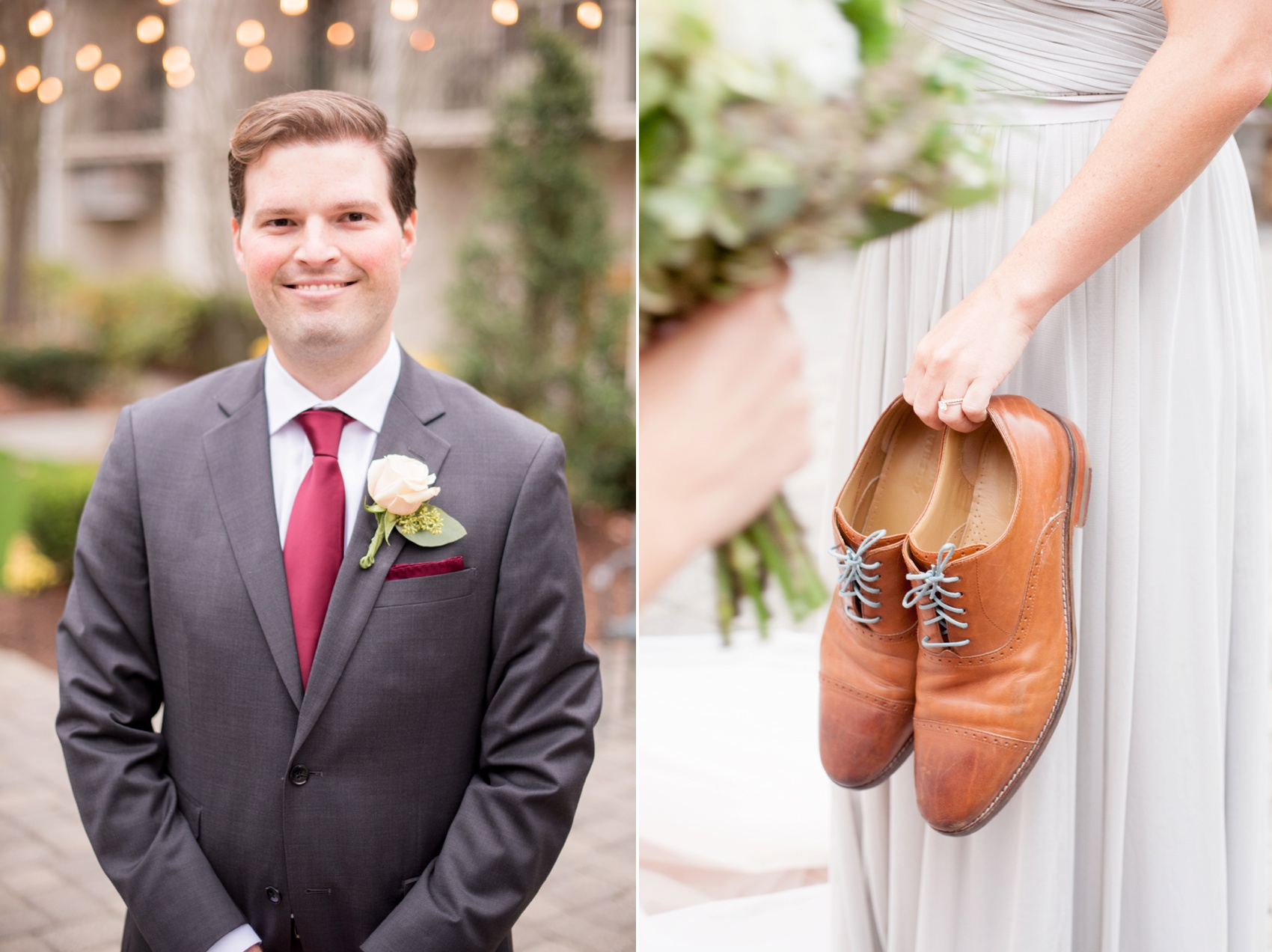Olde Mill Inn New Jersey wedding by Mikkel Paige Photography, NYC and Raleigh wedding photographer. Groomsmen with laces to match the bridesmaids.