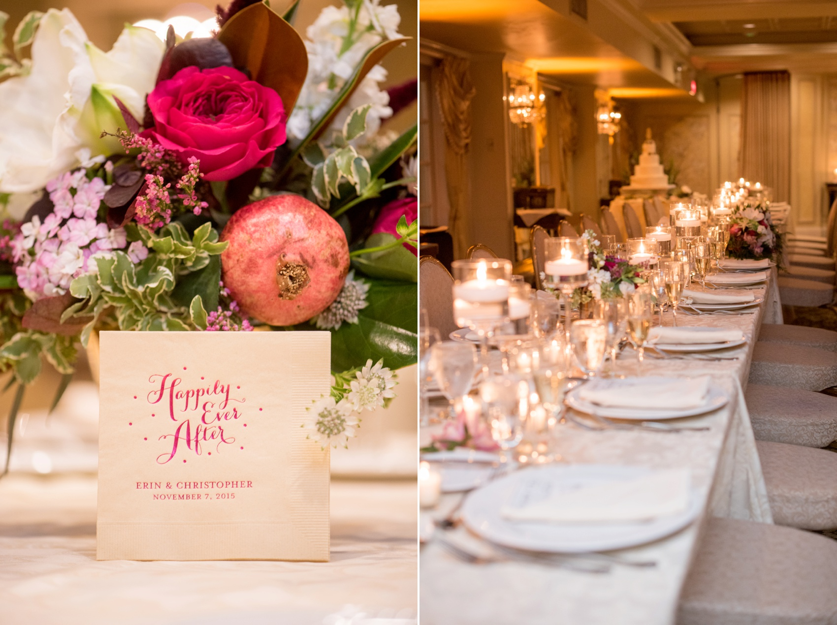 Olde Mill Inn wedding ceremony by Mikkel Paige Photography, NYC and Raleigh wedding photographer. Flowers by The Arrangement with Disney inspired Happily Ever After cocktail napkins.
